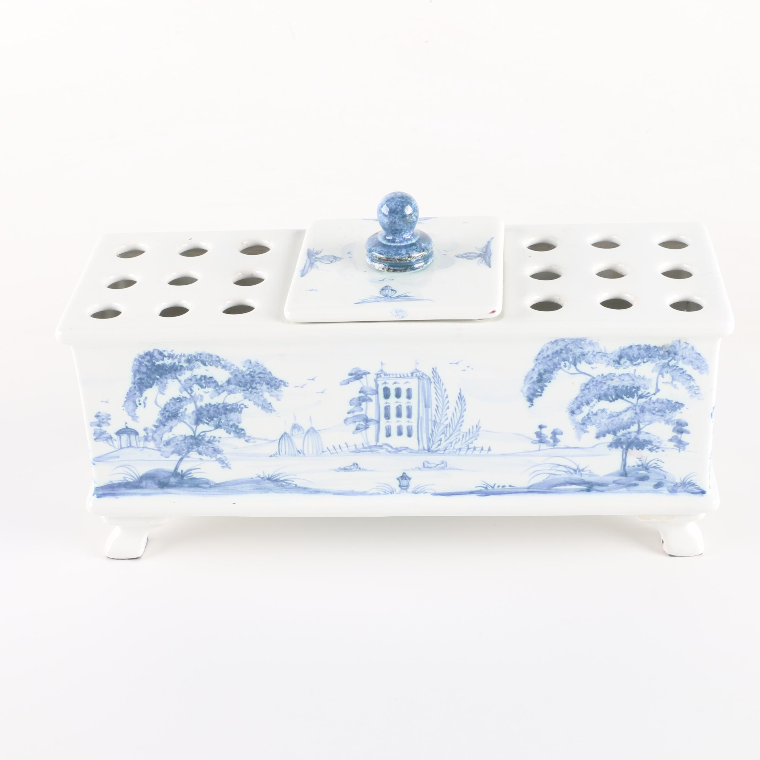 Hand-Painted Porcelain Flower Brick