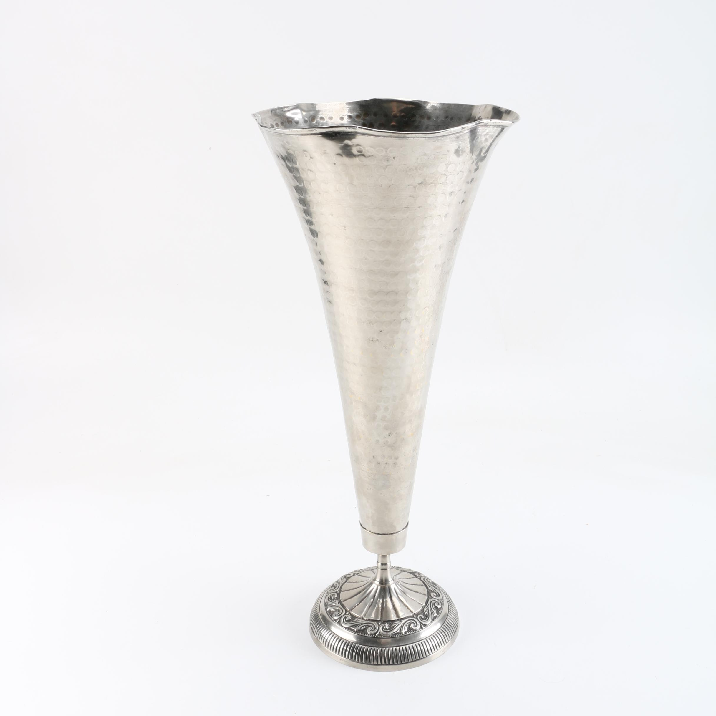 Hammered Silver-Plated Vase