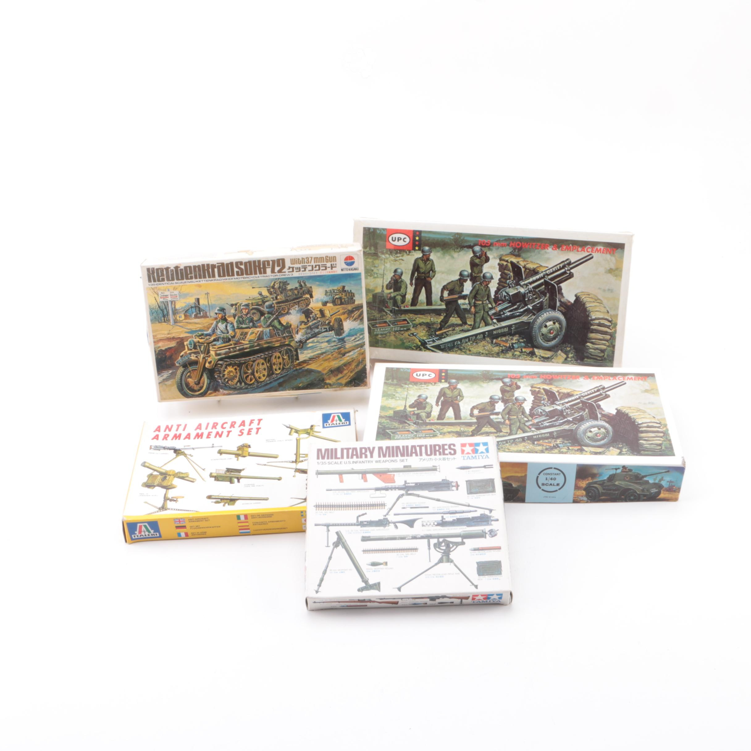 Military Vehicle and Weaponry Model Kits Including Tamiya
