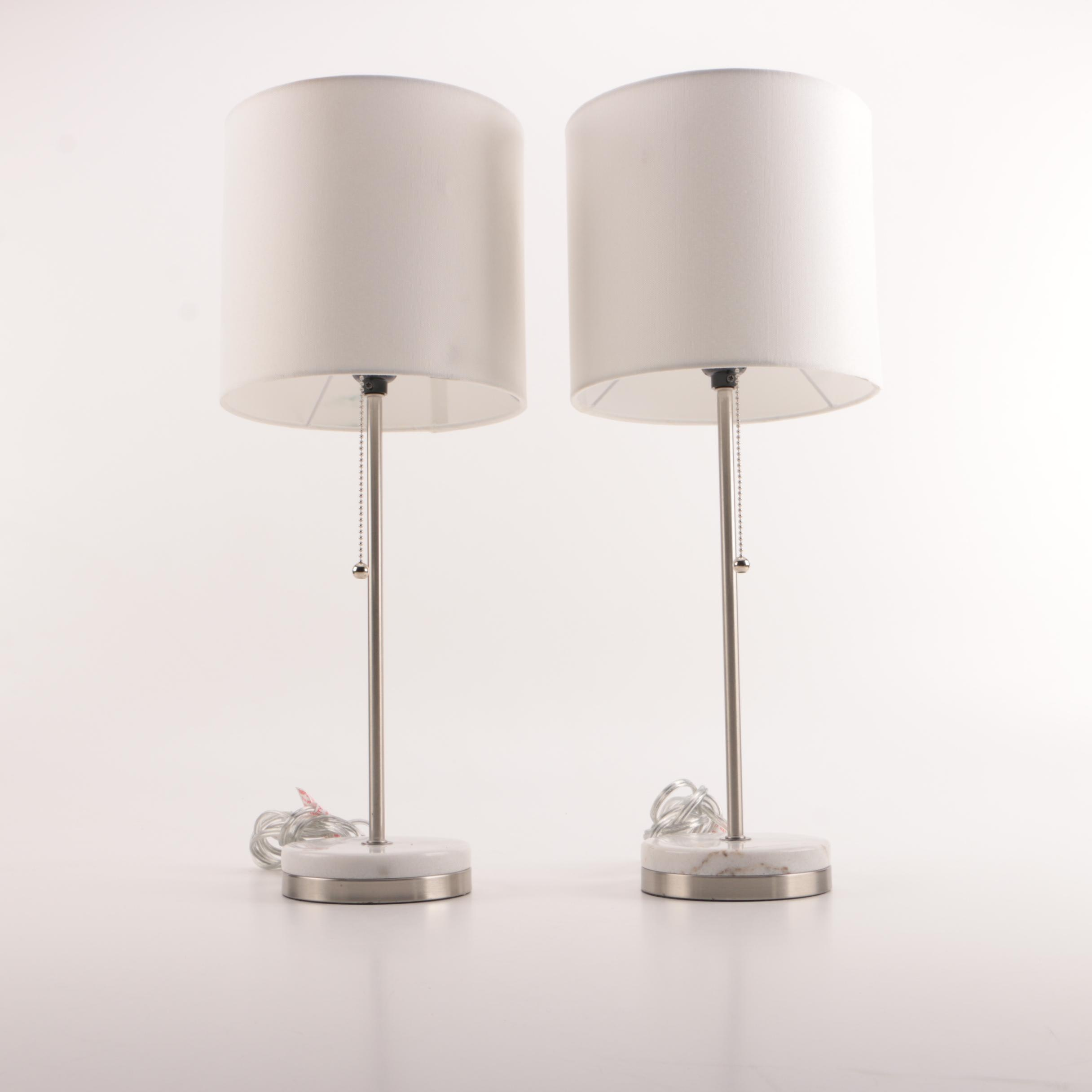 Modernist Table Lamps with Marble Bases