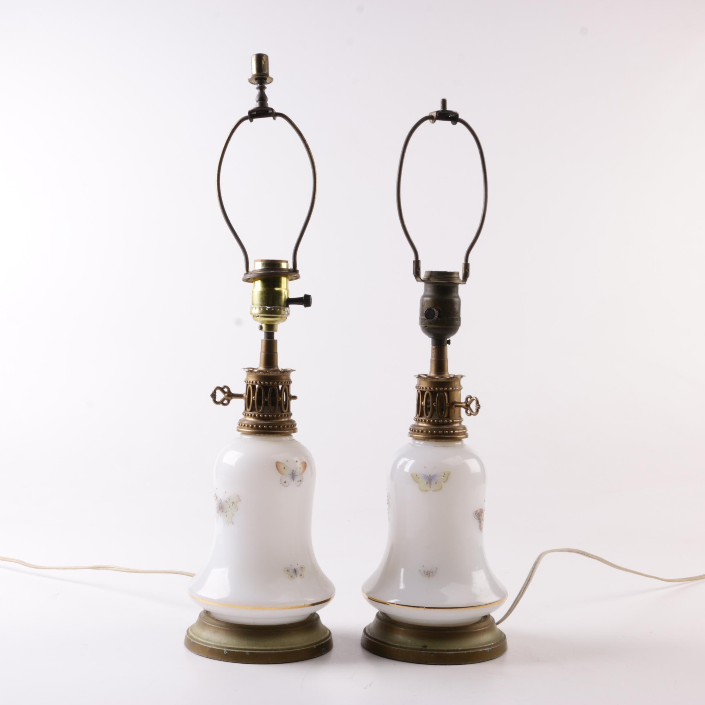 Glass and Brass Butterfly Themed Table Lamps