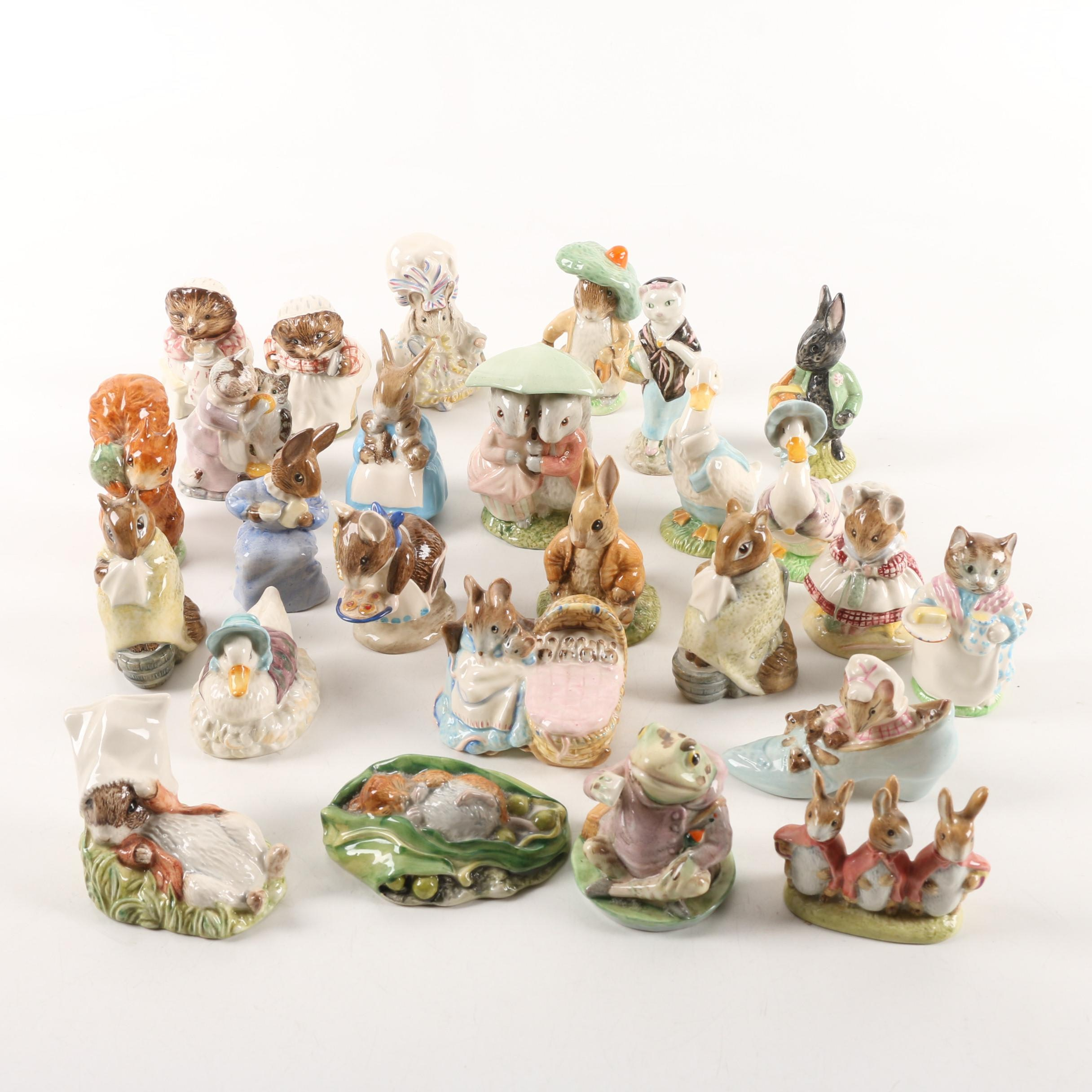 """Beatrix Potter"" Porcelain Figurines including Beswick England and Royal Albert"