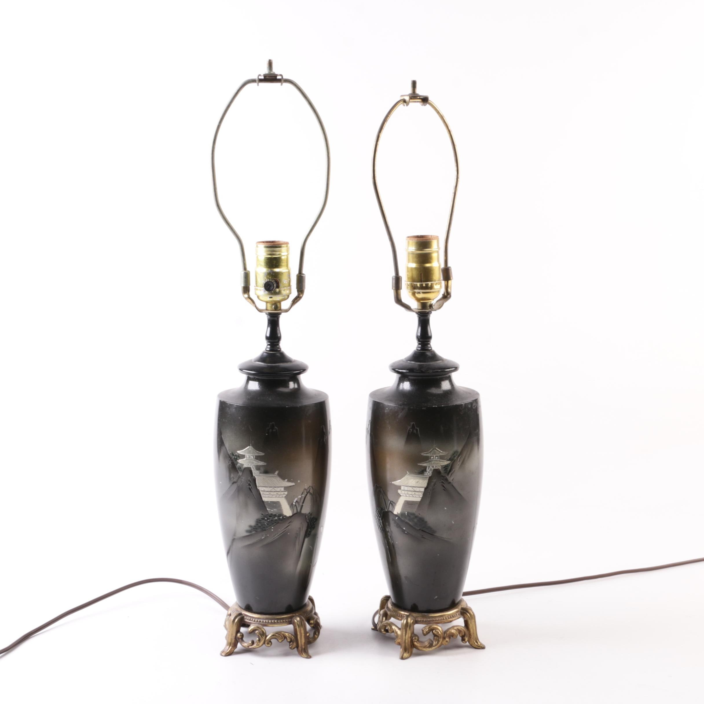 Japanese Brass and Metal Table Lamps