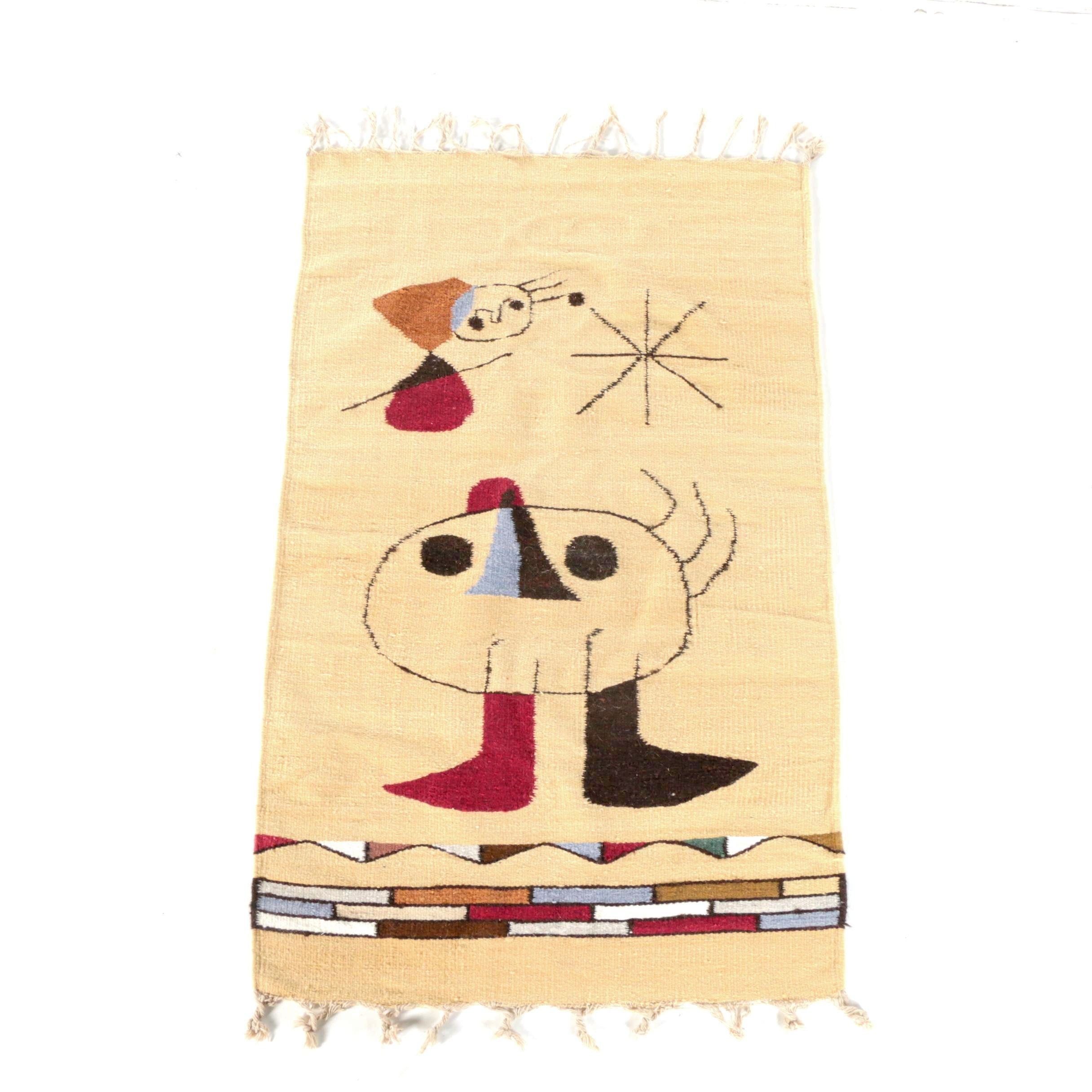 Mid-Century Handwoven Rug/Wall Hanging in the Style of Joan Miró