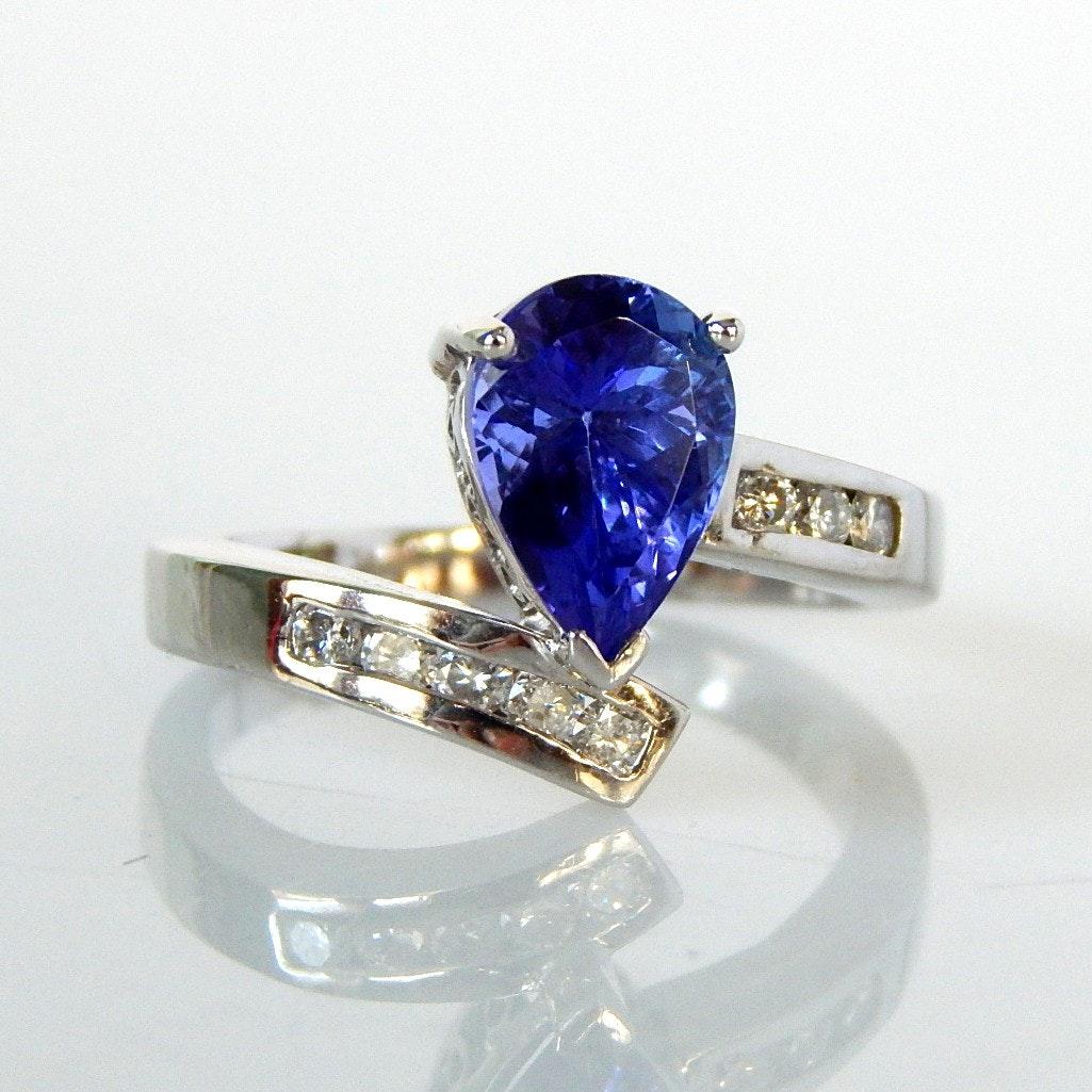 14K White Gold 3.34 CT Tanzanite and Diamond Ring