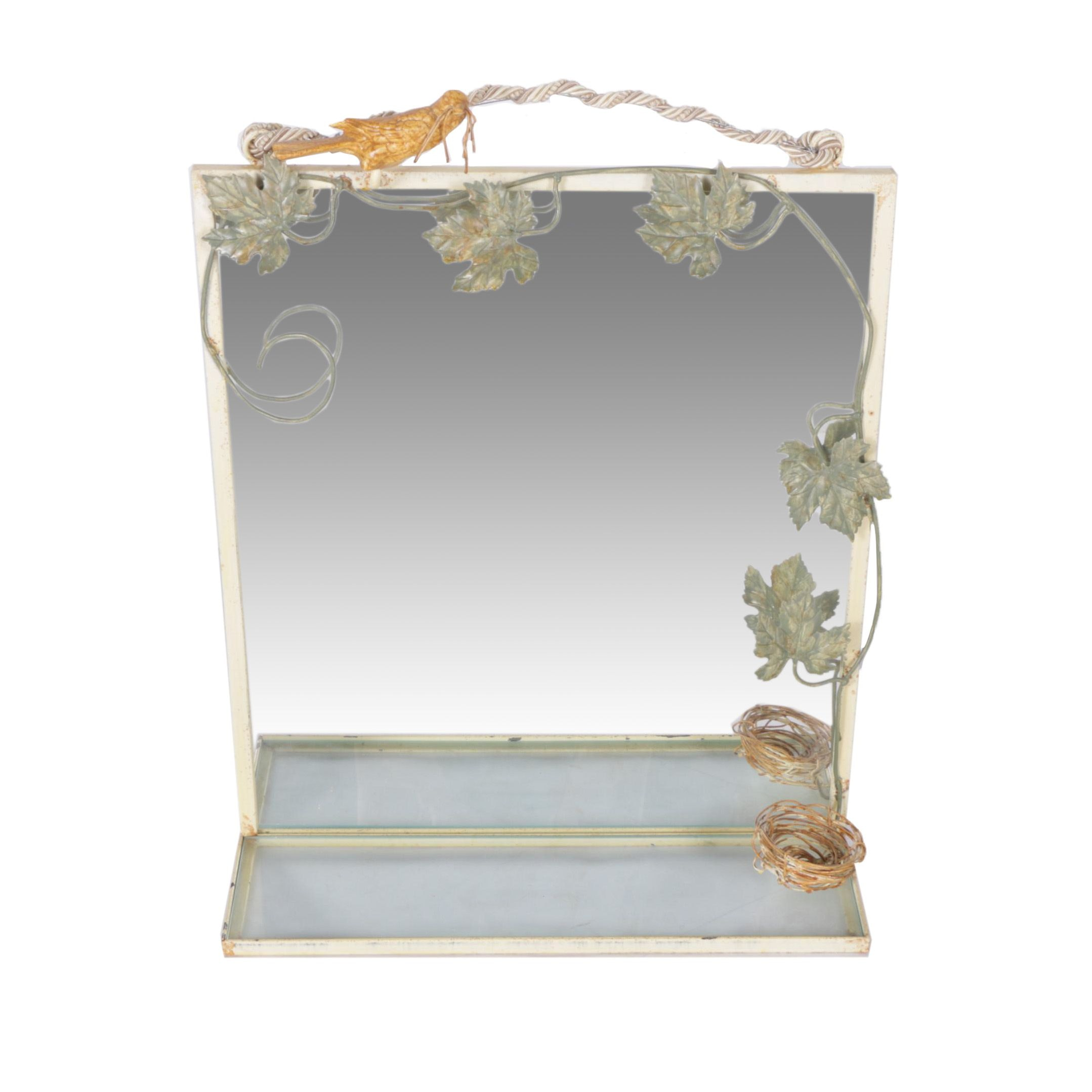 Contemporary Nature Themed Hall Mirror with Shelf