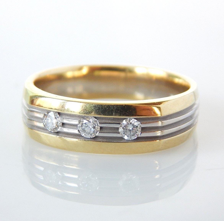 14K Mixed Gold Diamond Band Ring