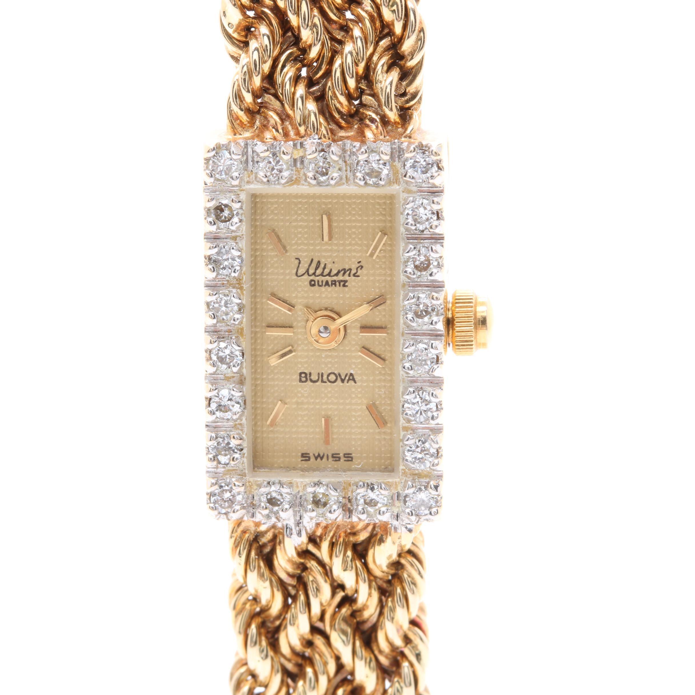 Bulova 14K Yellow Gold Diamond Wristwatch with Box