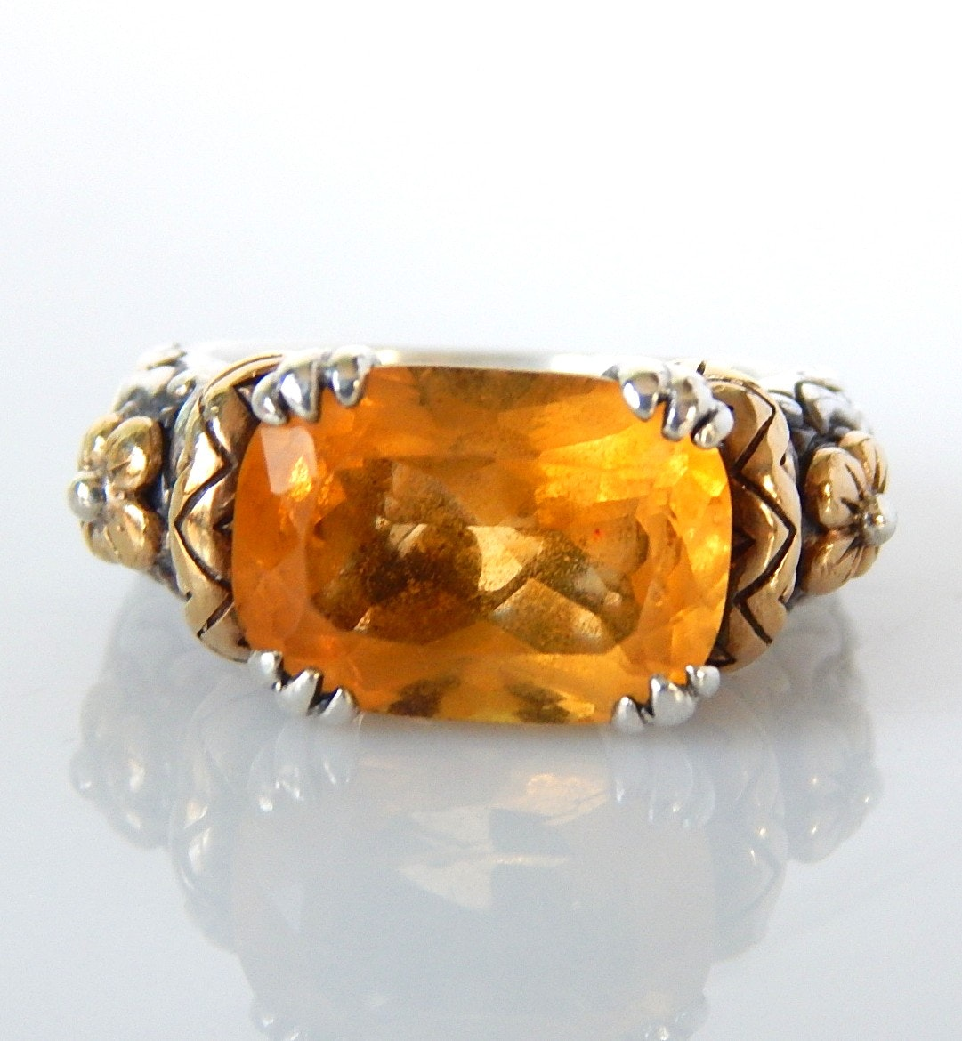 Barbara Bixby Sterling Silver and 18K Yellow Gold Citrine Ring