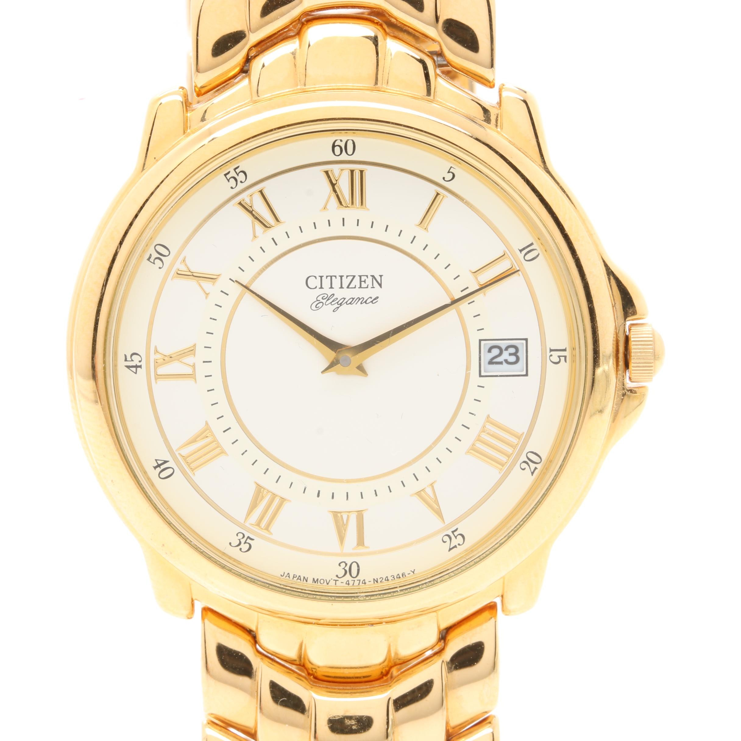 Citizen Elegance Gold Tone Dress Wristwatch with Box