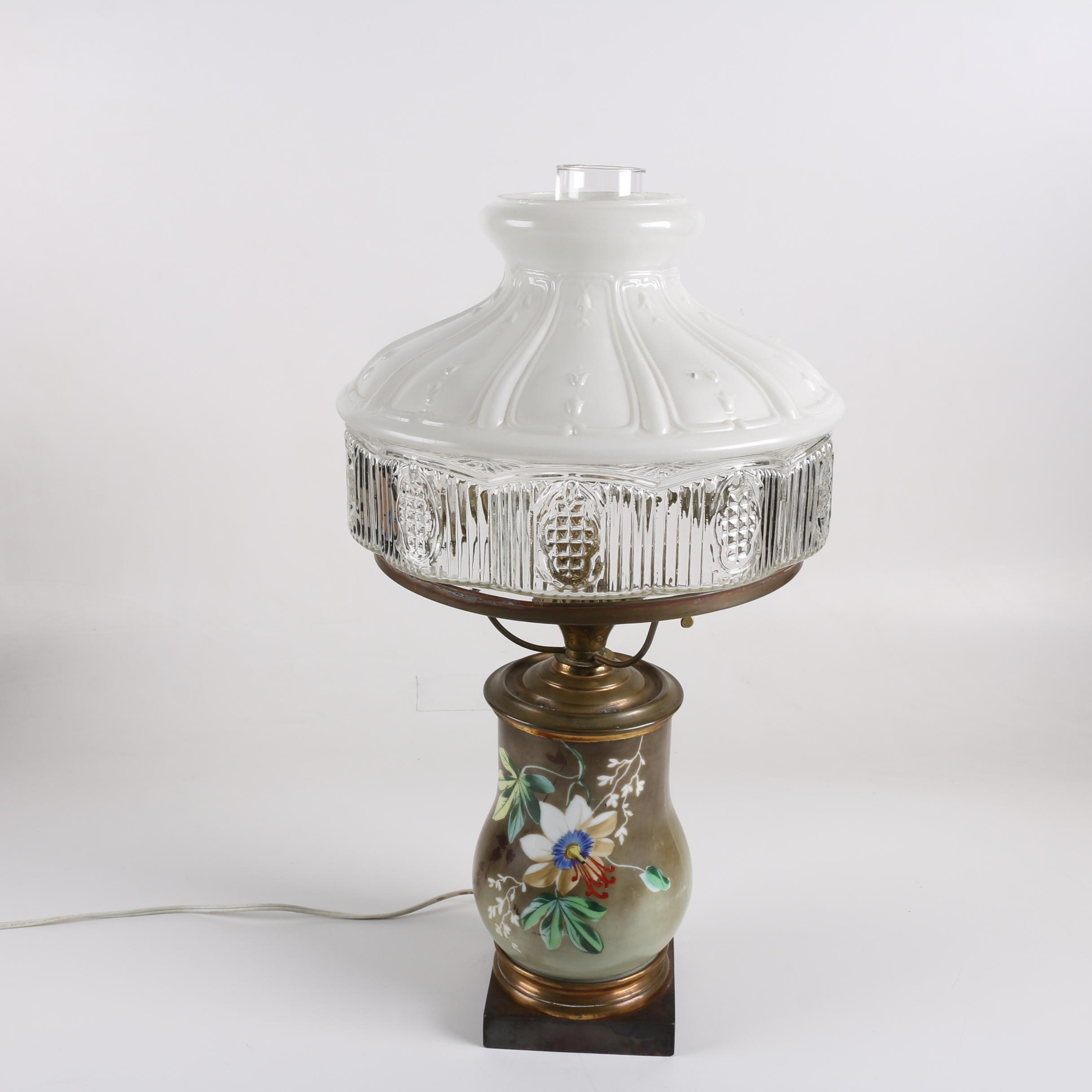 Converted Hand-Painted Ceramic Oil Lamp with Glass Shade