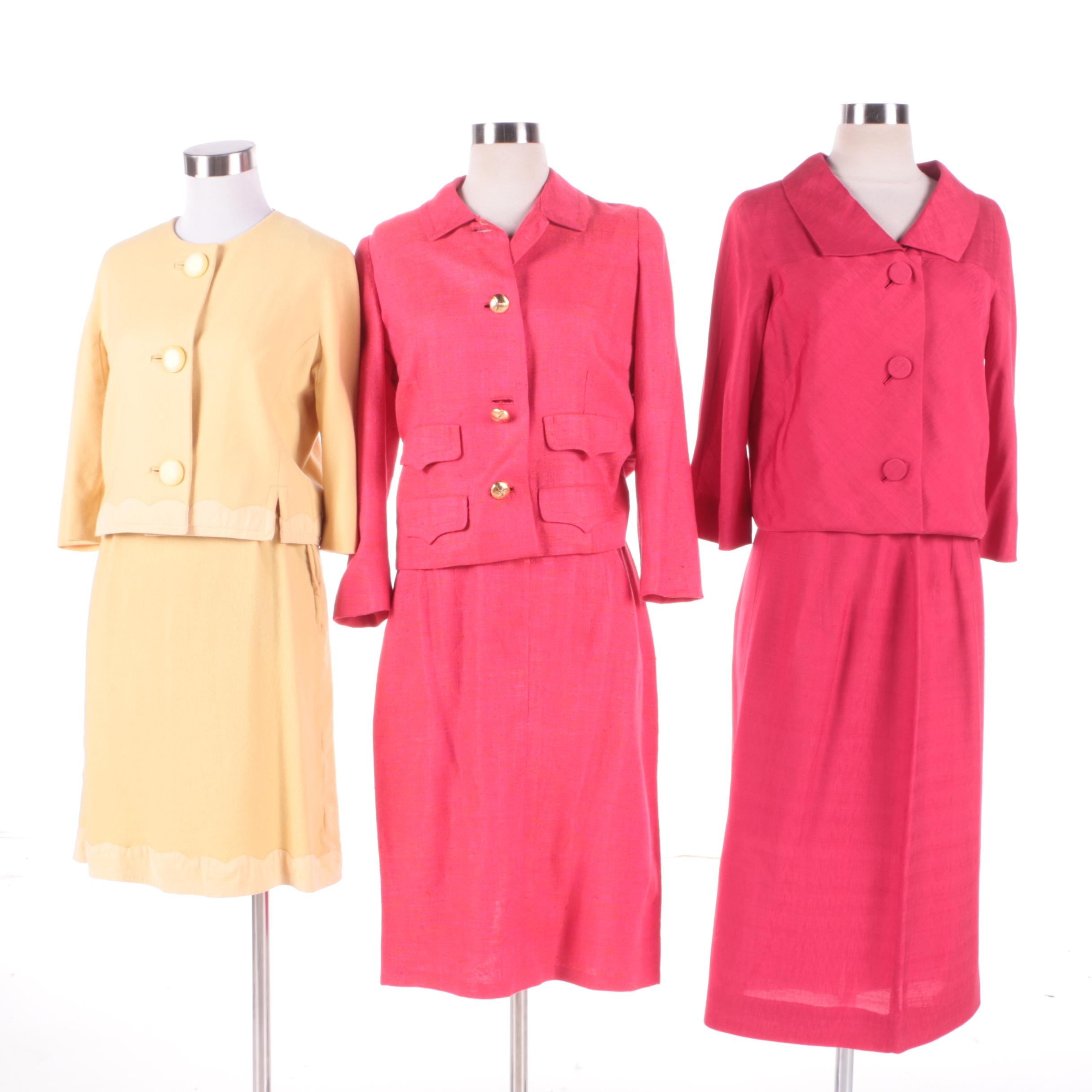 1950s Skirt Suits Featuring Davidow Cerise Red Linen Skirt Suit with Silk Lining