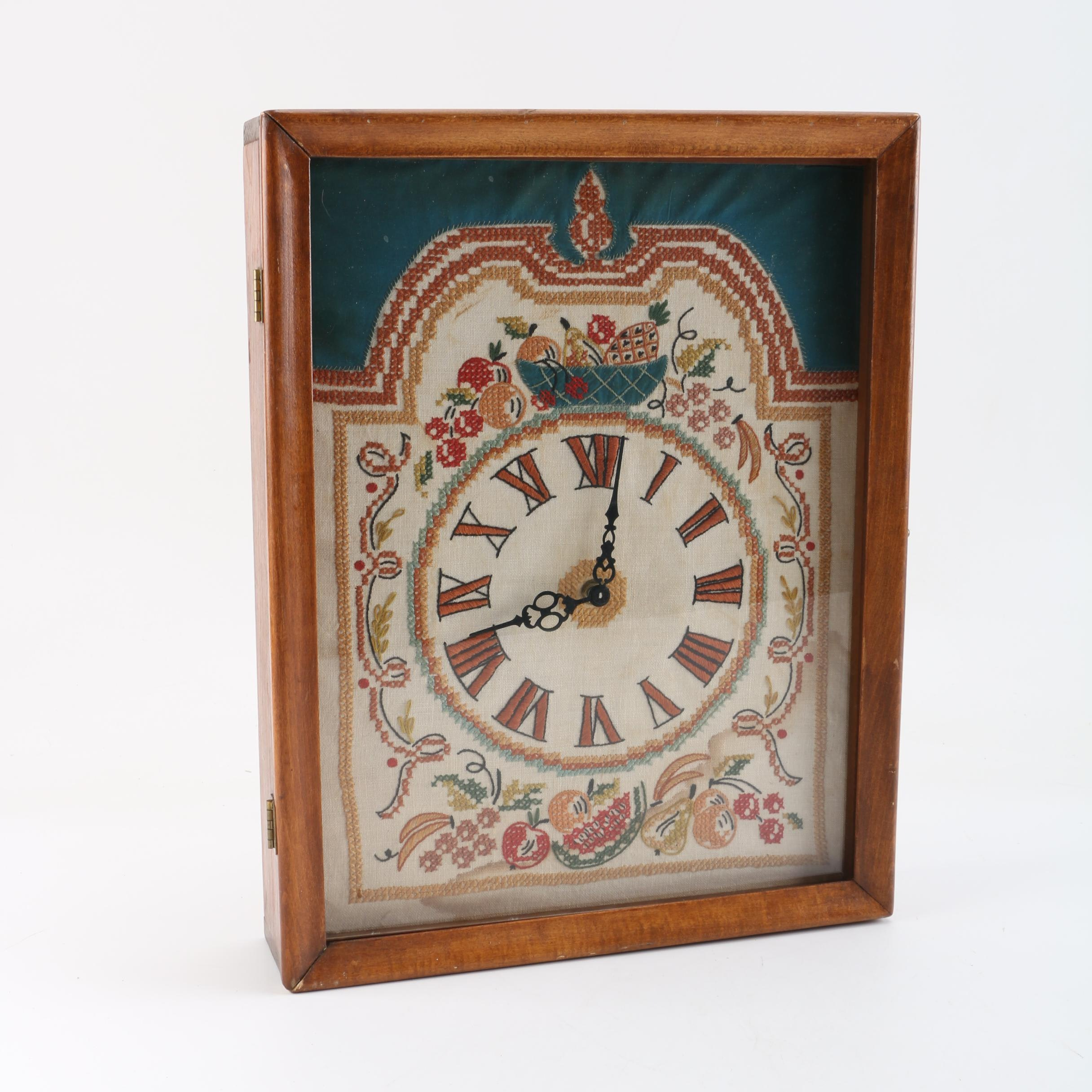 Antique Country Cottage Wall Clock with Cross-Stitched Face