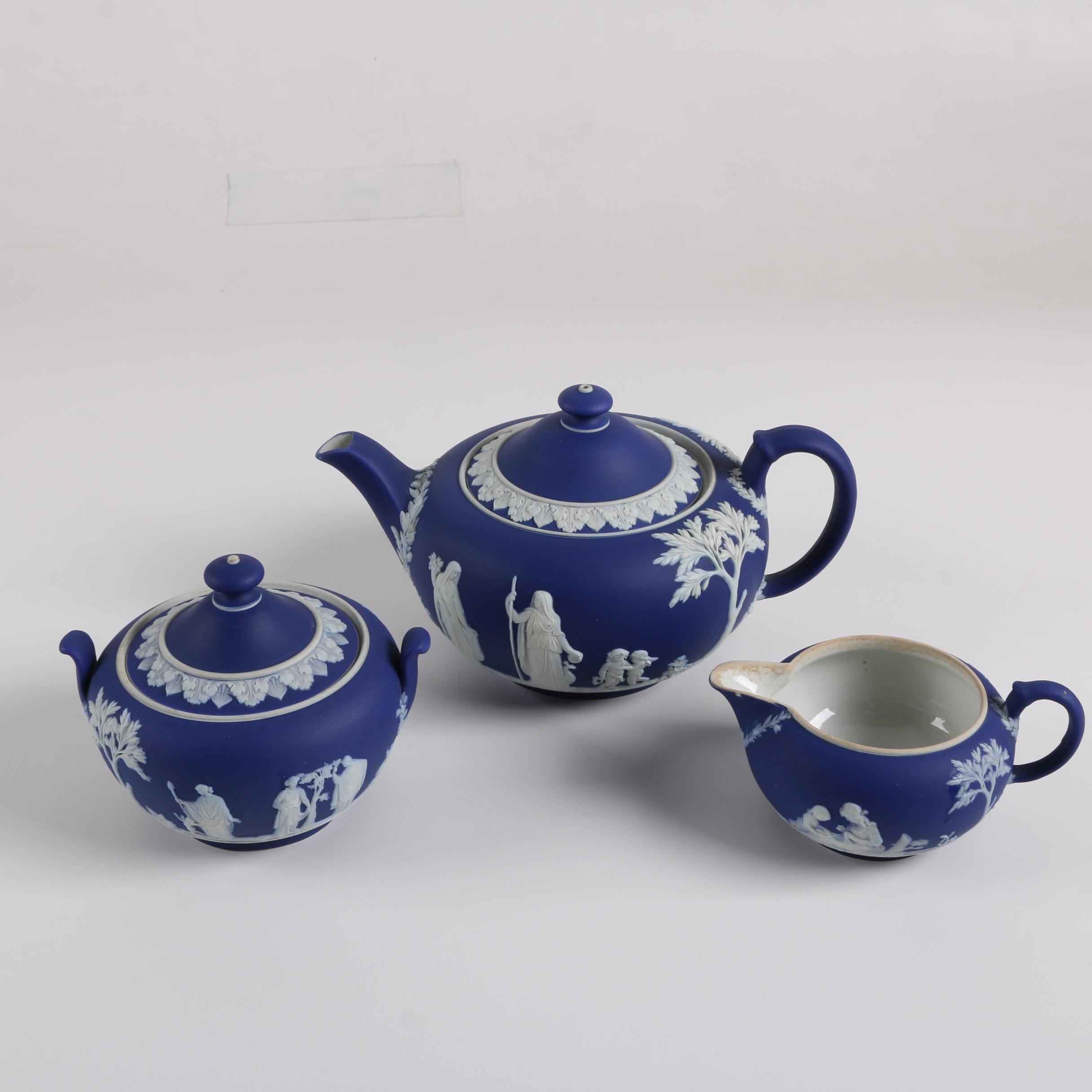 Vintage Wedgwood Cobalt Blue Jasperware Tea Serving Set