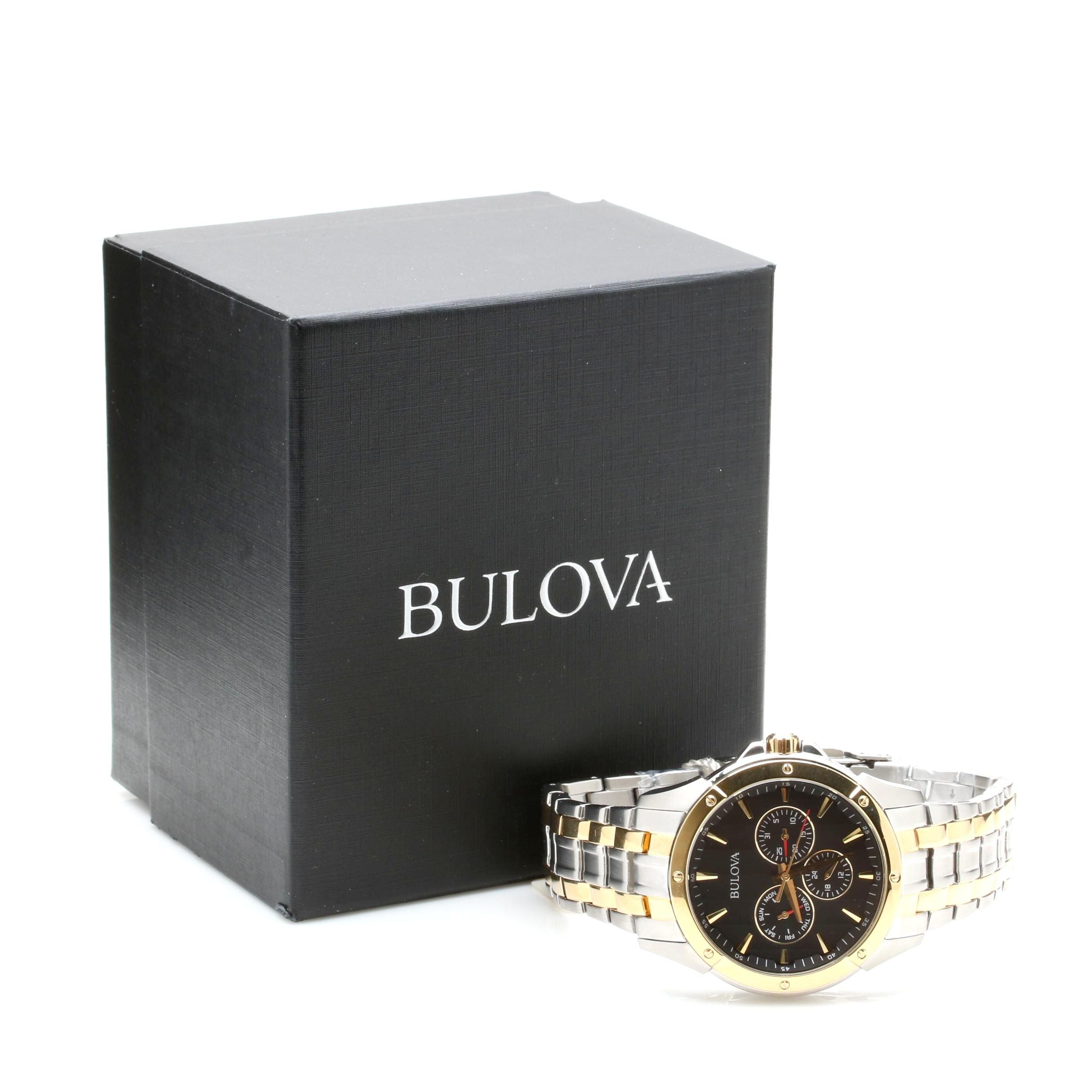 Bulova Two Tone Stainless Steel Wristwatch with Box