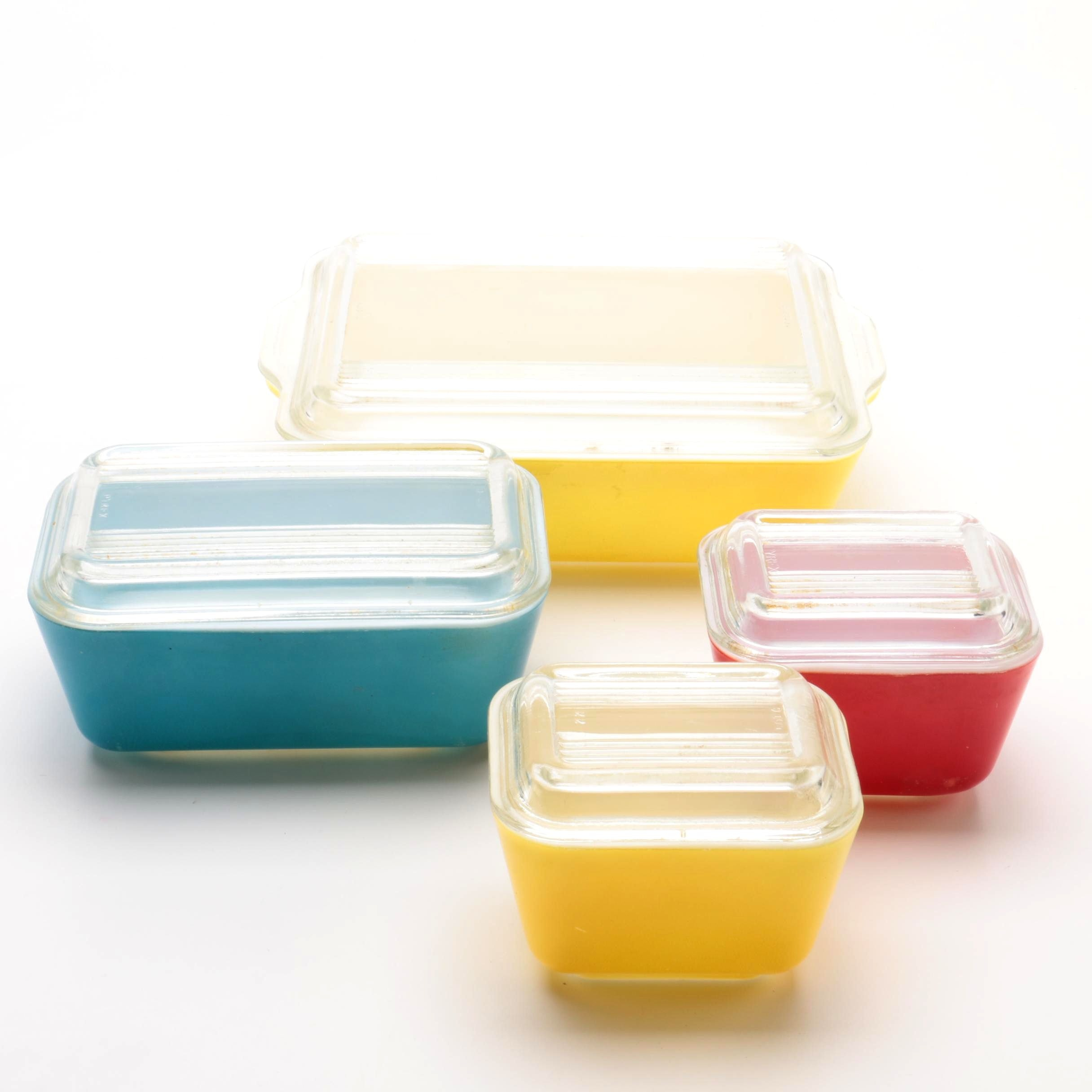 Vintage Pyrex Primary Colors Refrigerator Dishes Ebth