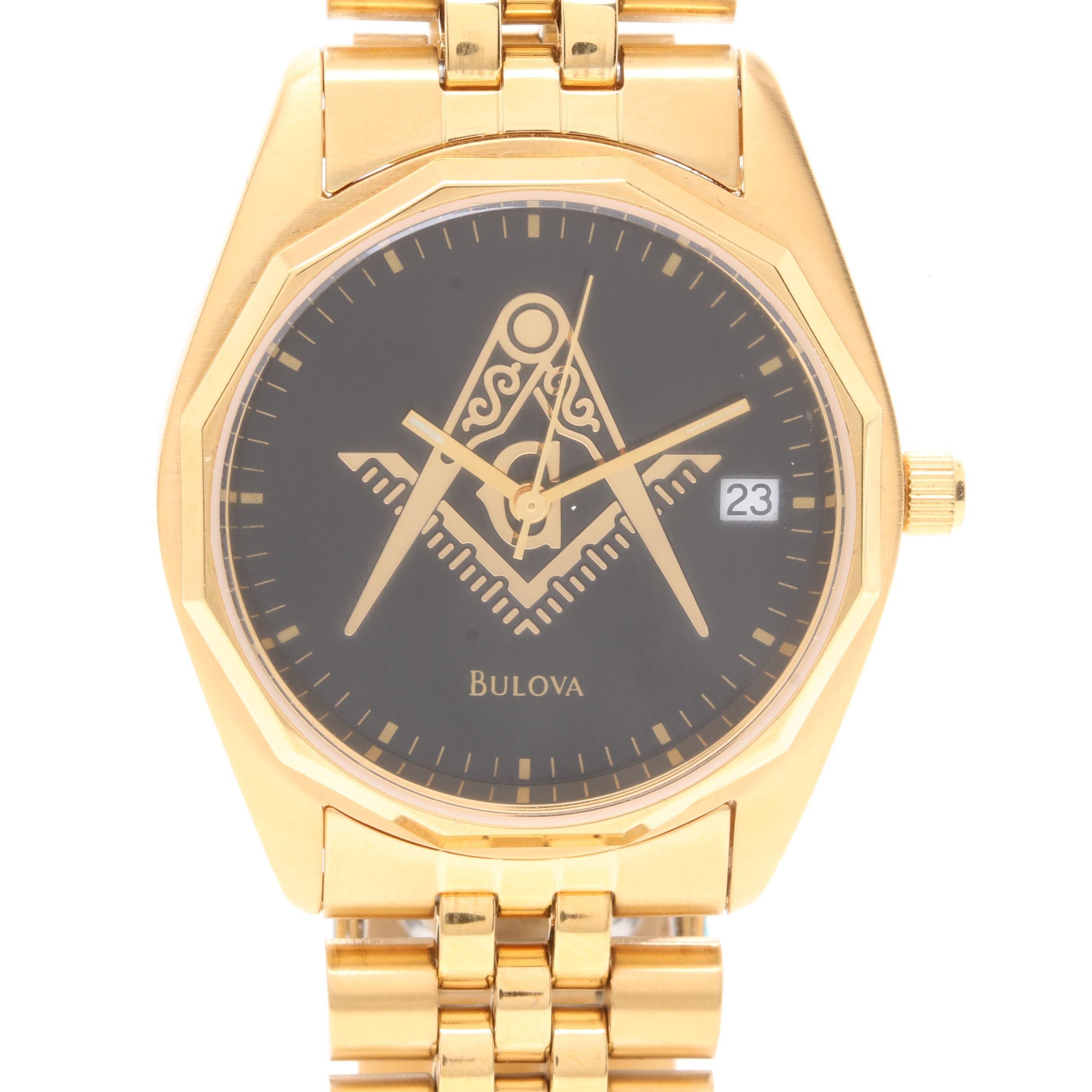 Bulova Gold Tone Masonic Dial Wristwatch with Box