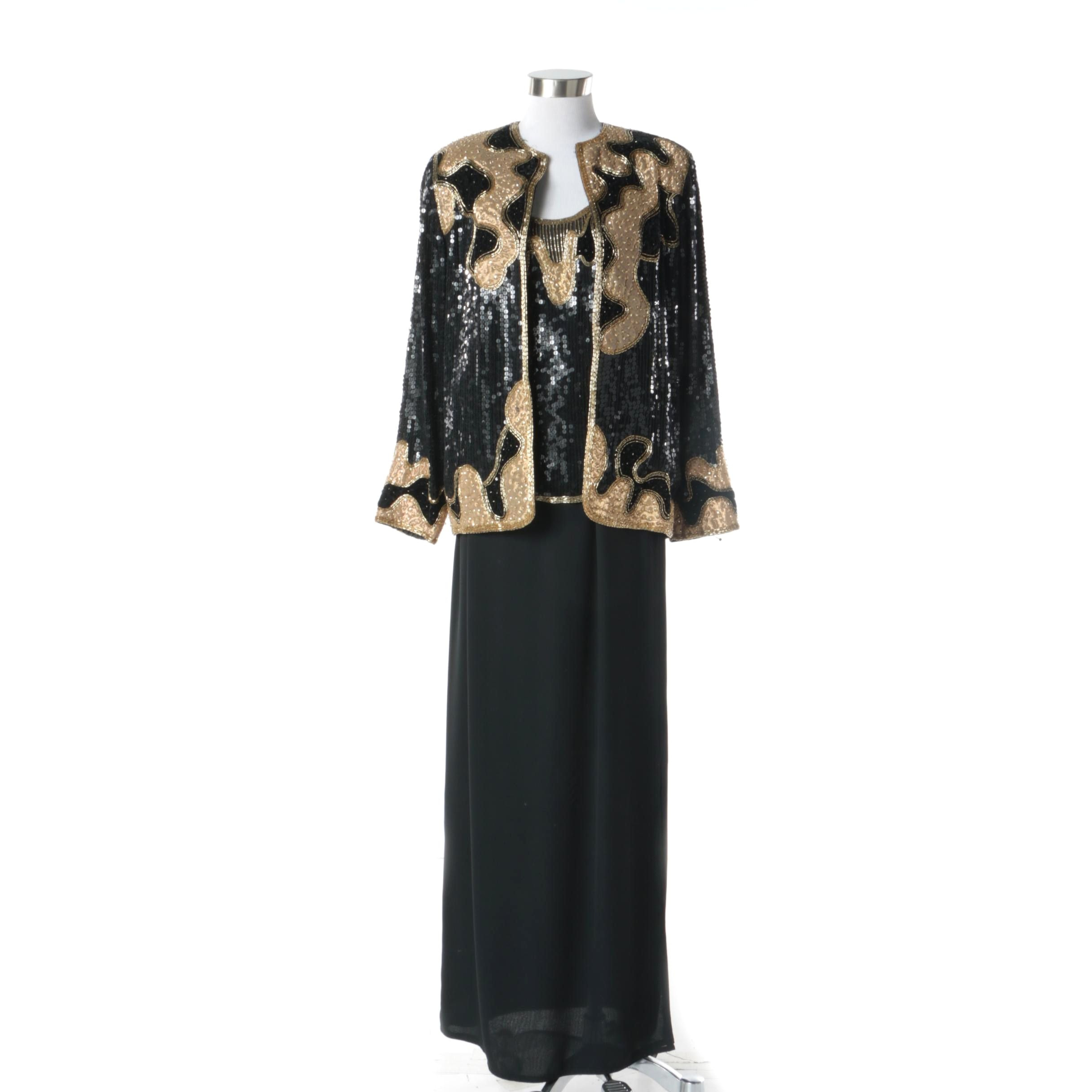 1980s Judith Ann Creations Black and Gold Silk Beaded Skirt, Blouse and Jacket