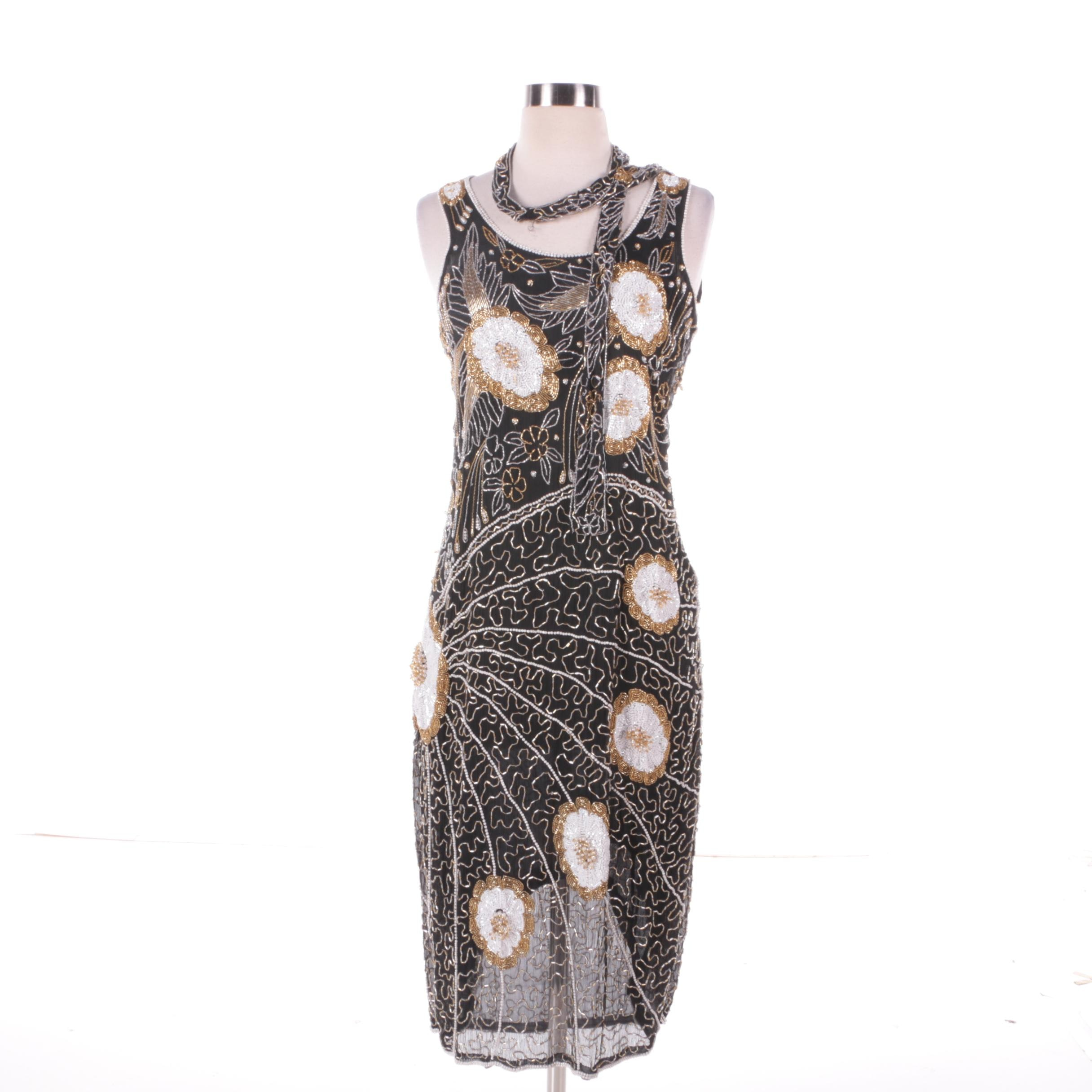 1980s Vintage Silk Beaded Peacock Burst Sleeveless Cocktail Dress