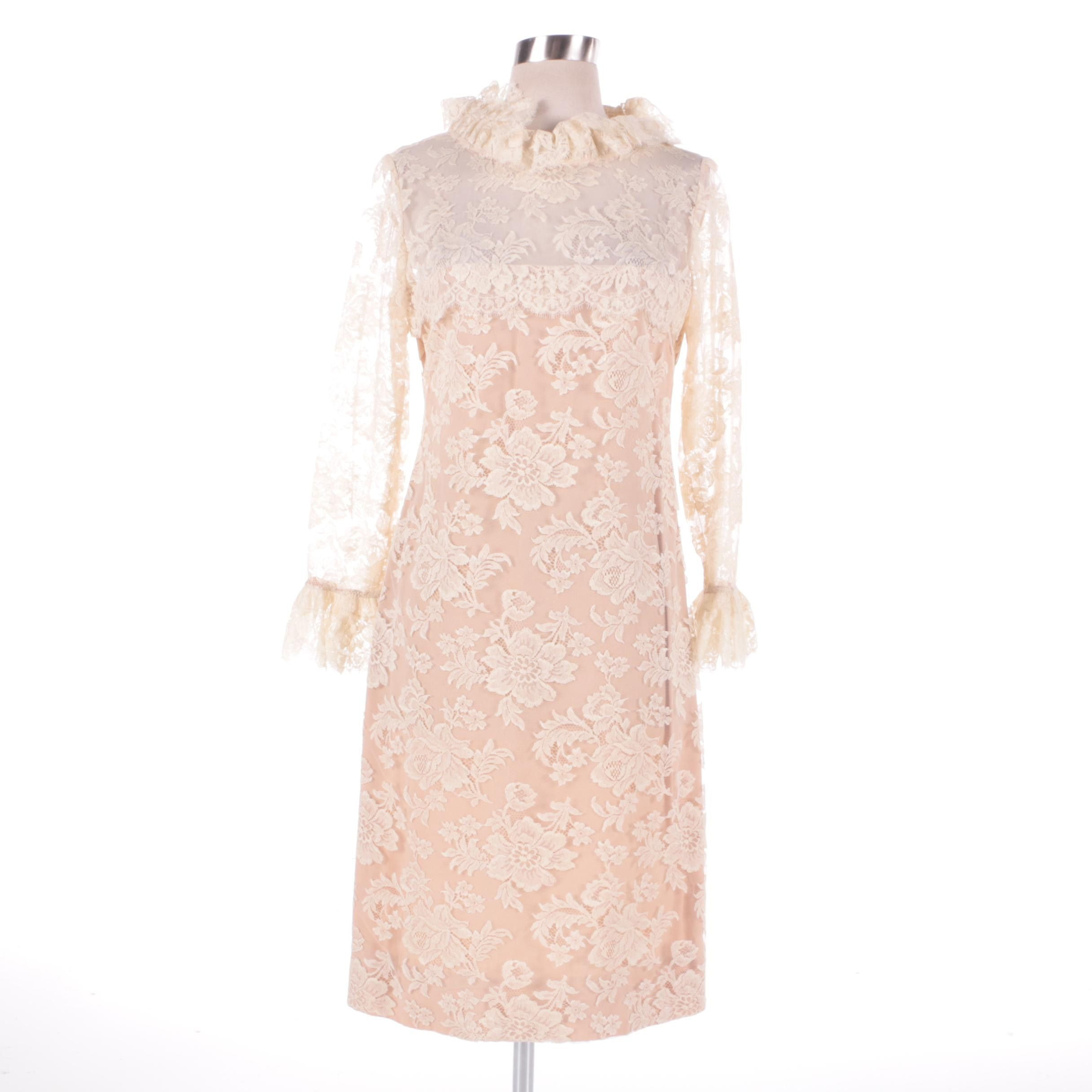 1960s Vintage Bill Blass for Maurice Rentner Ivory Chantilly Lace Ruffle Dress