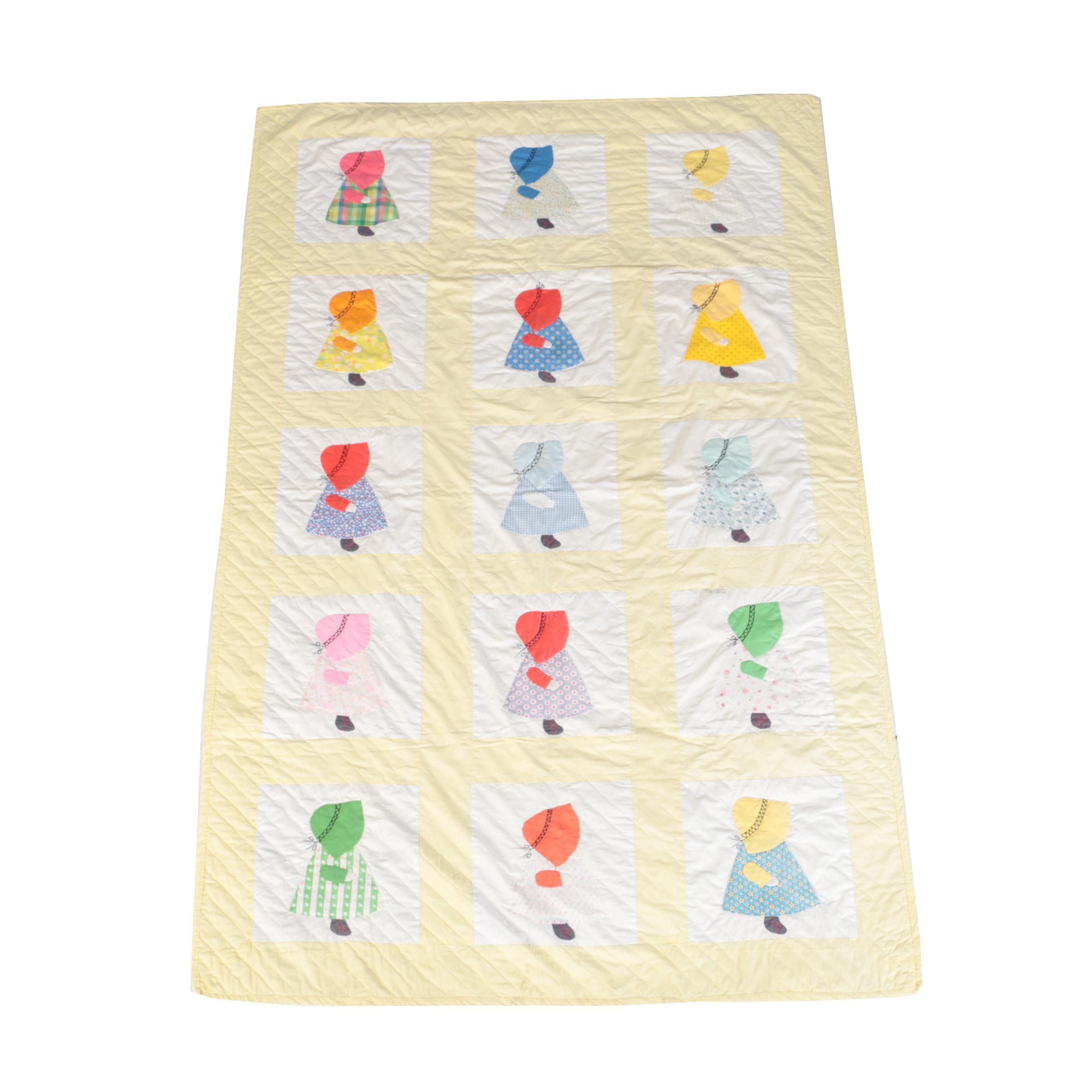 """Vintage Handmade """"Sunbonnet Sue"""" Applique Quilt"""