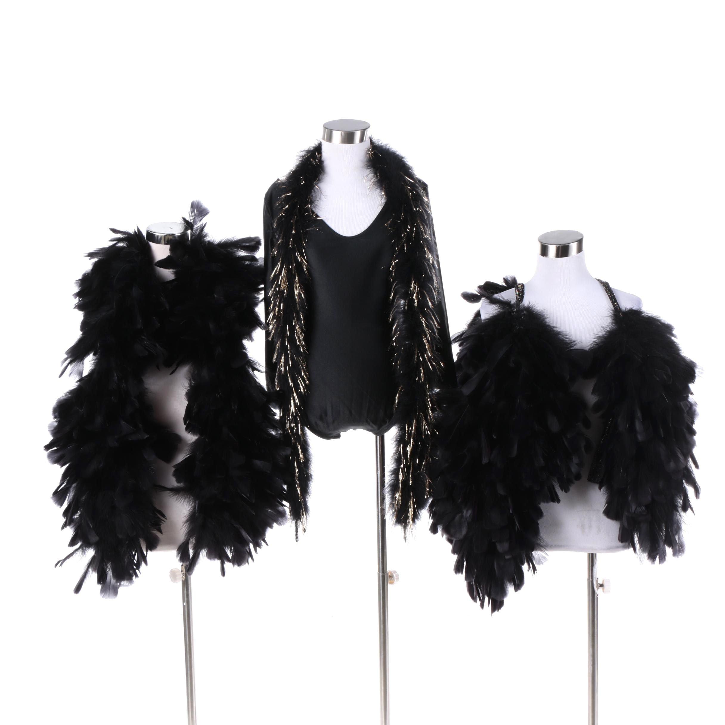 Danskin Black Poly-Blend Leotard and Feathered Boas