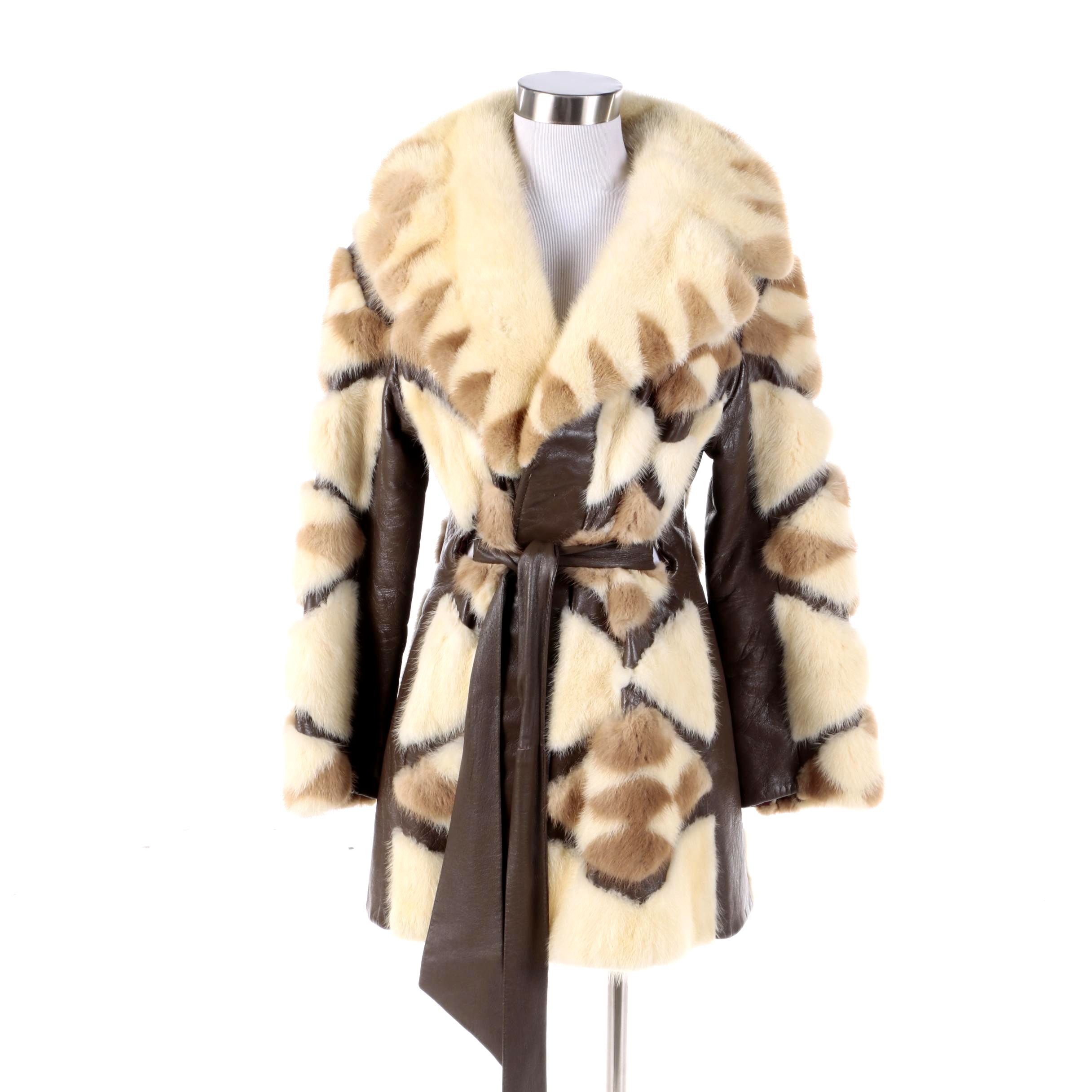 Women's Vintage Ronley Patchwork Mink Fur and Leather Coat