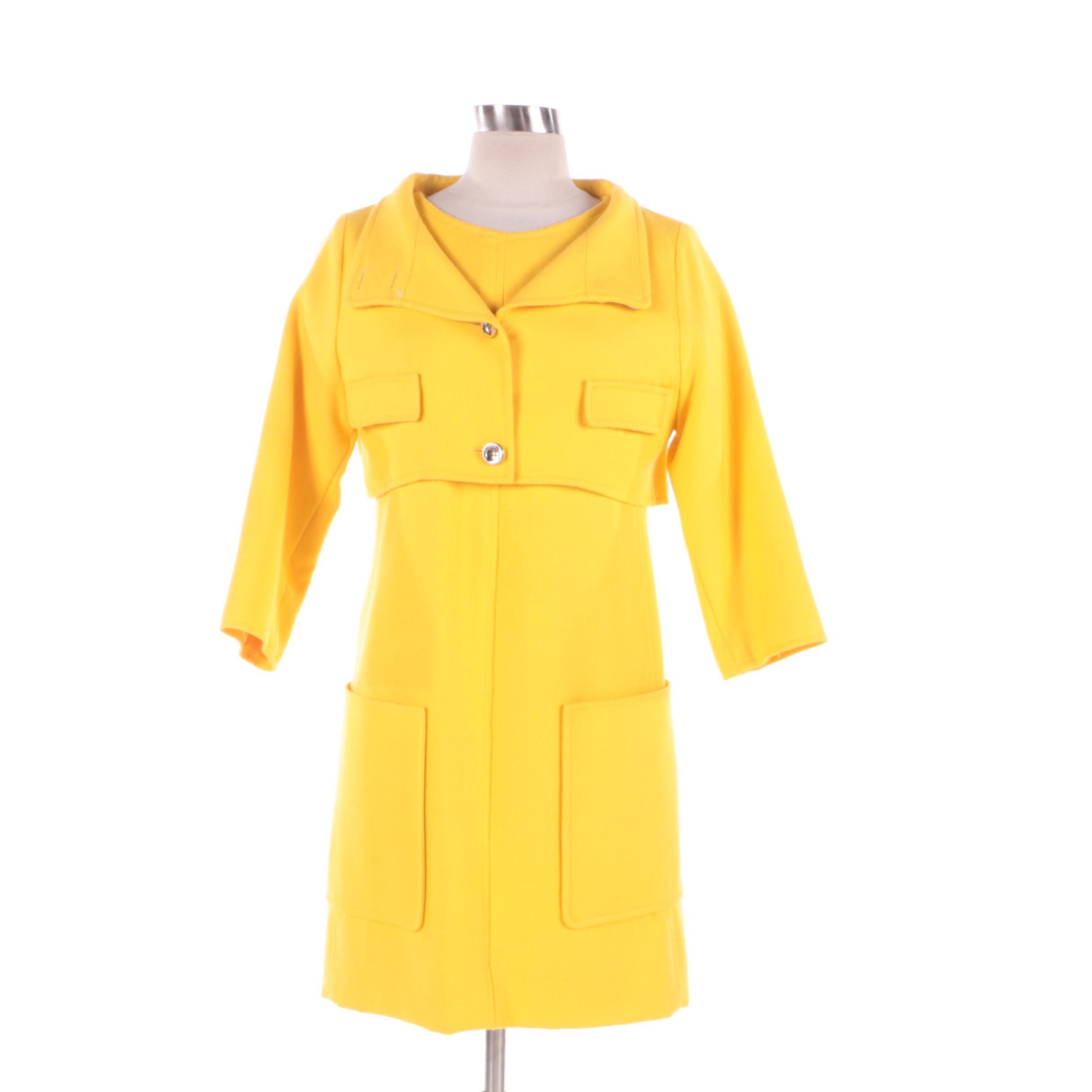 1980s Vintage Courreges of Paris Yellow Dress and Cropped Jacket Ensemble