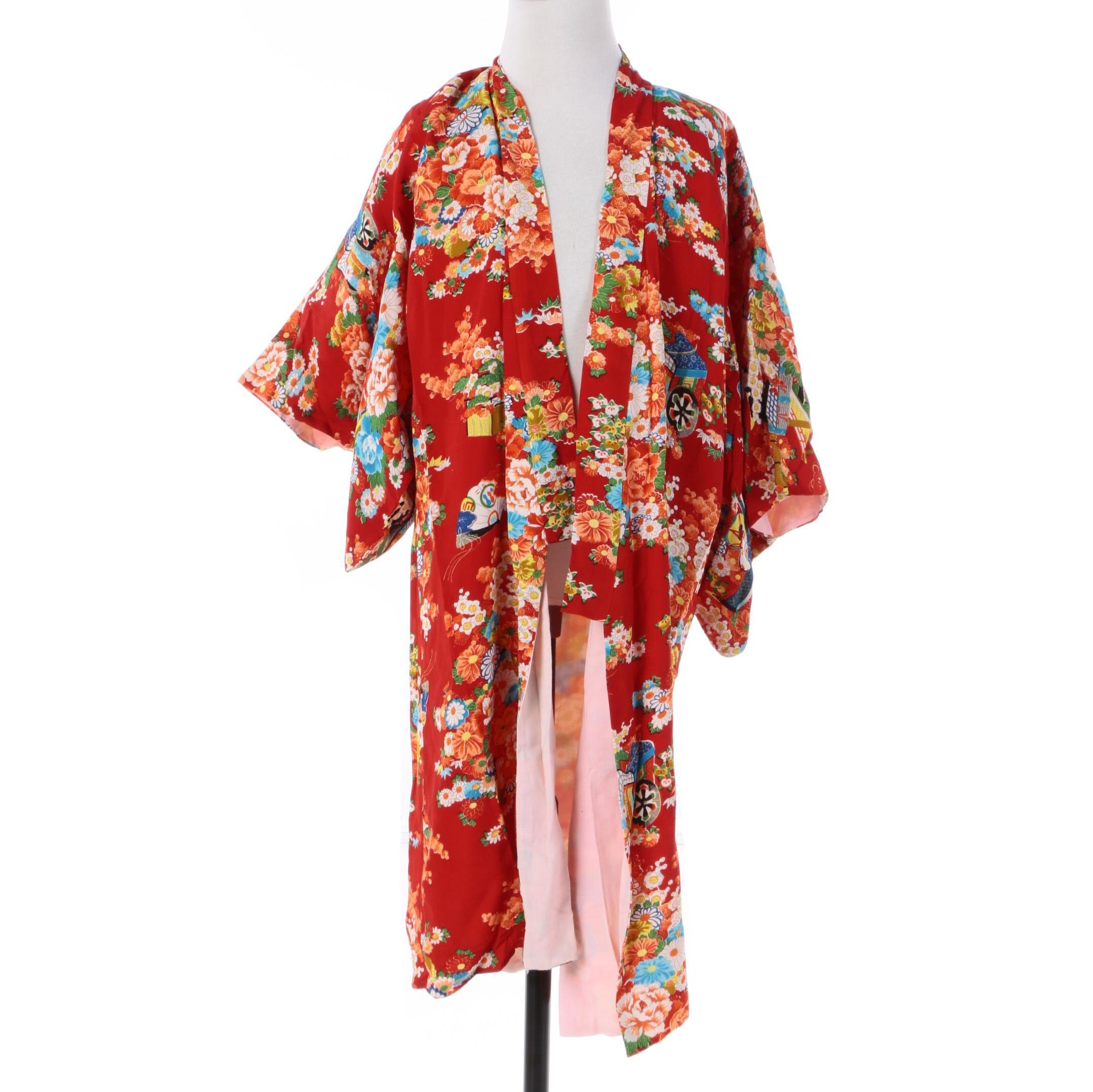 Children's Japanese Kimono in Red Floral, Architectural and Drum Motif