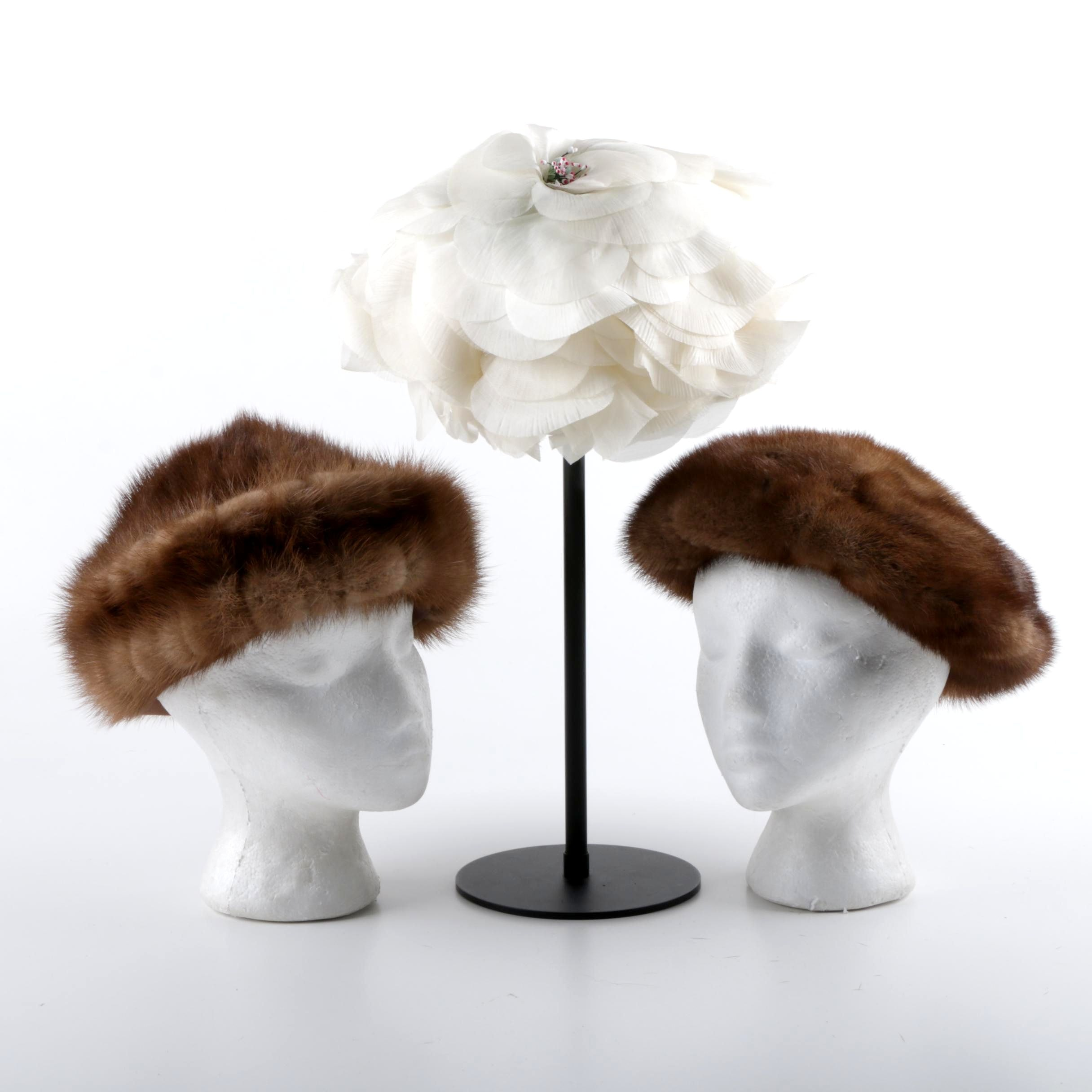 Women's Vintage Hats Including Mink Fur Hats