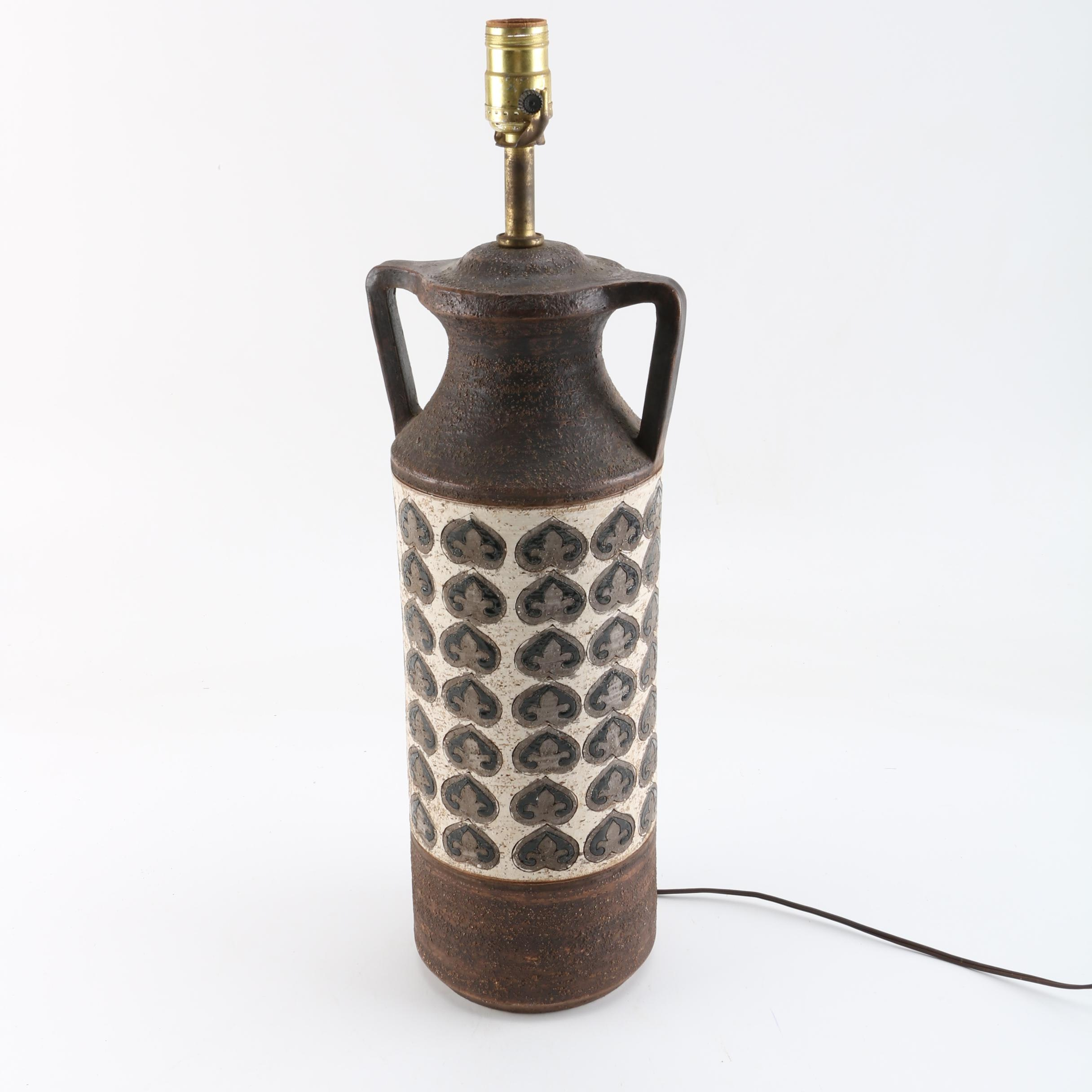 Incised Stoneware Urn Shaped Table Lamp