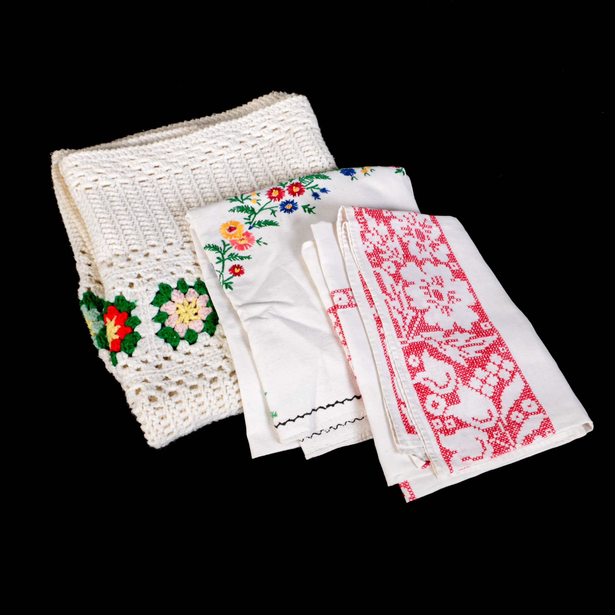 Crochet Afghan and Hand Embroidered Table Linens