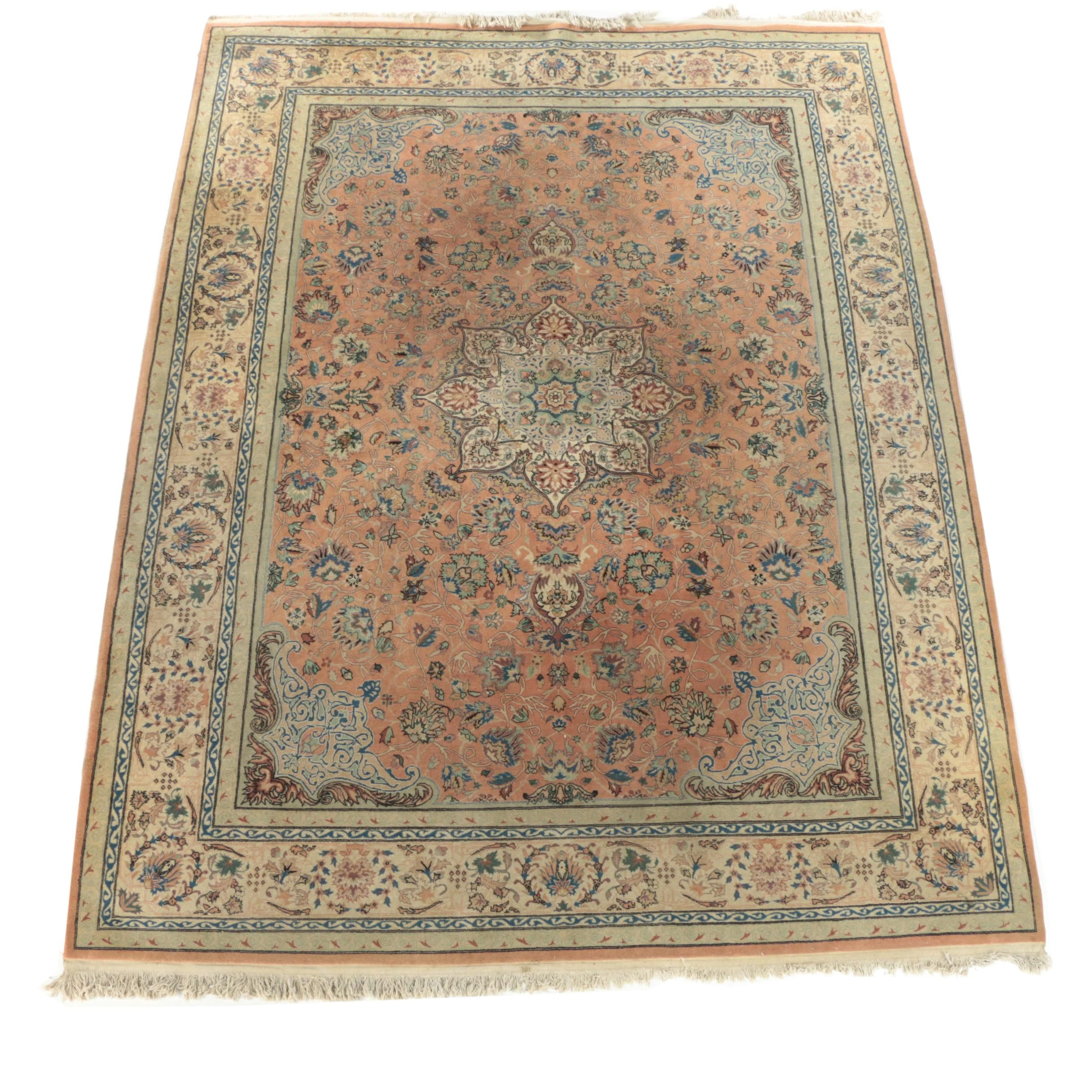 Finely Hand-Knotted Persian Tabriz Wool Room Sized Rug