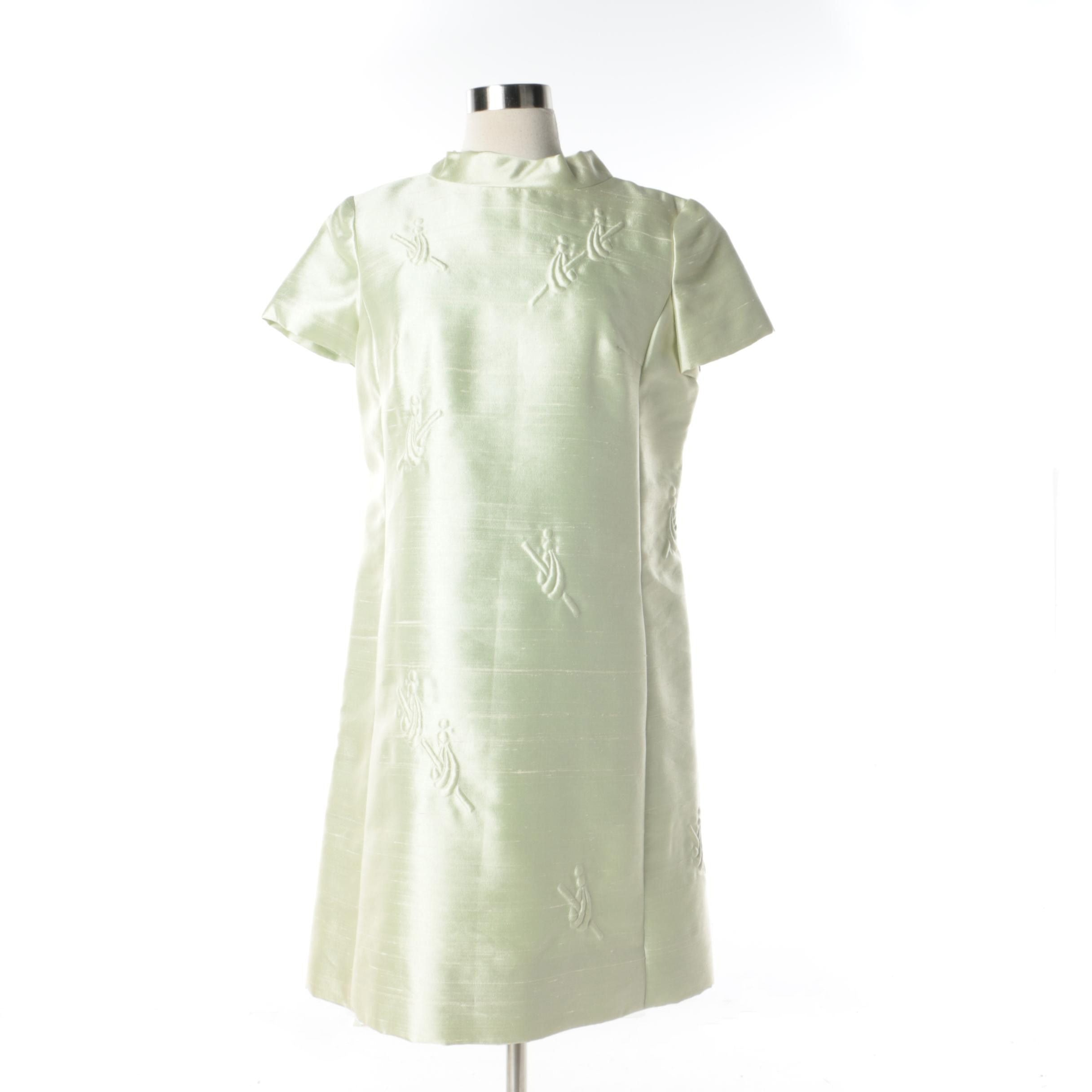 1960s Gidding Jenny Shannon Rodgers for Jerry Silverman Mint Green Silk Dress