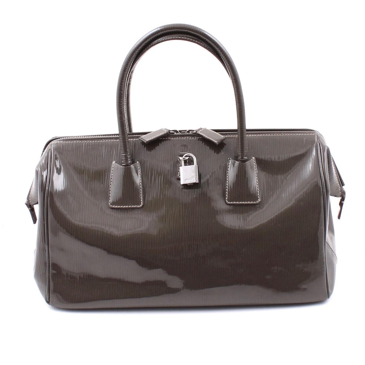 Prada Smoke Grey Patent Leather Handbag