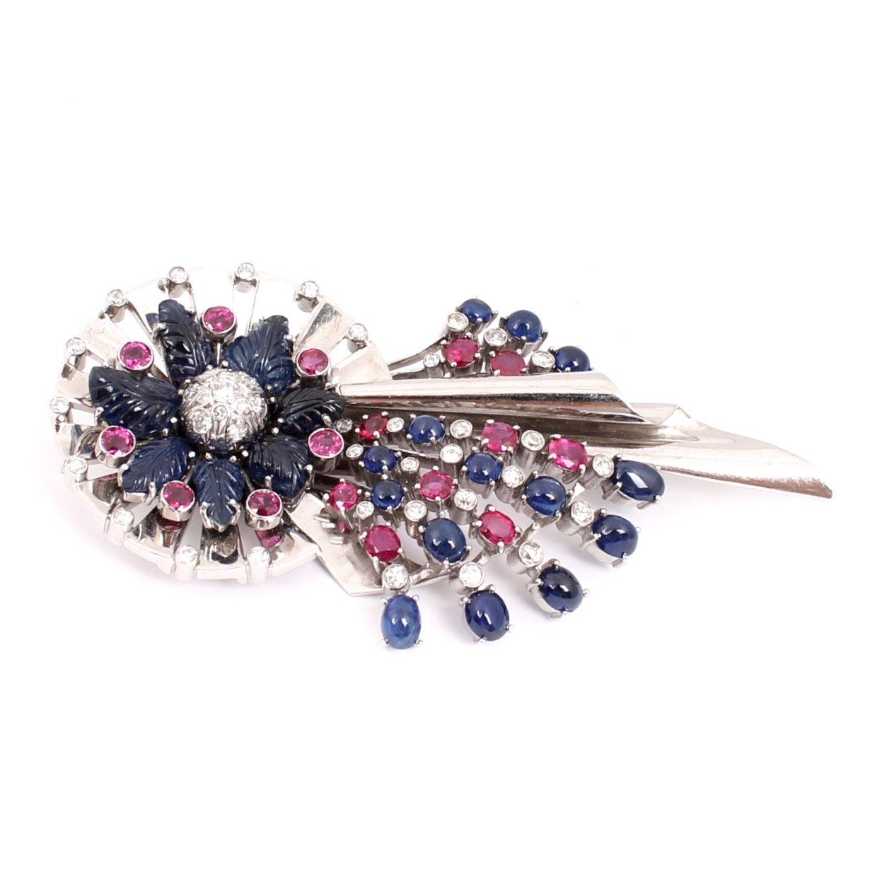 14K White Gold 1.50 CTW Diamond, Ruby, and Sapphire Brooch