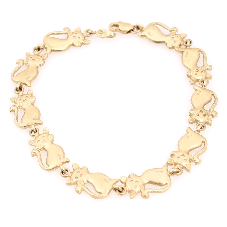 14K Yellow Gold Cat Link Bracelet