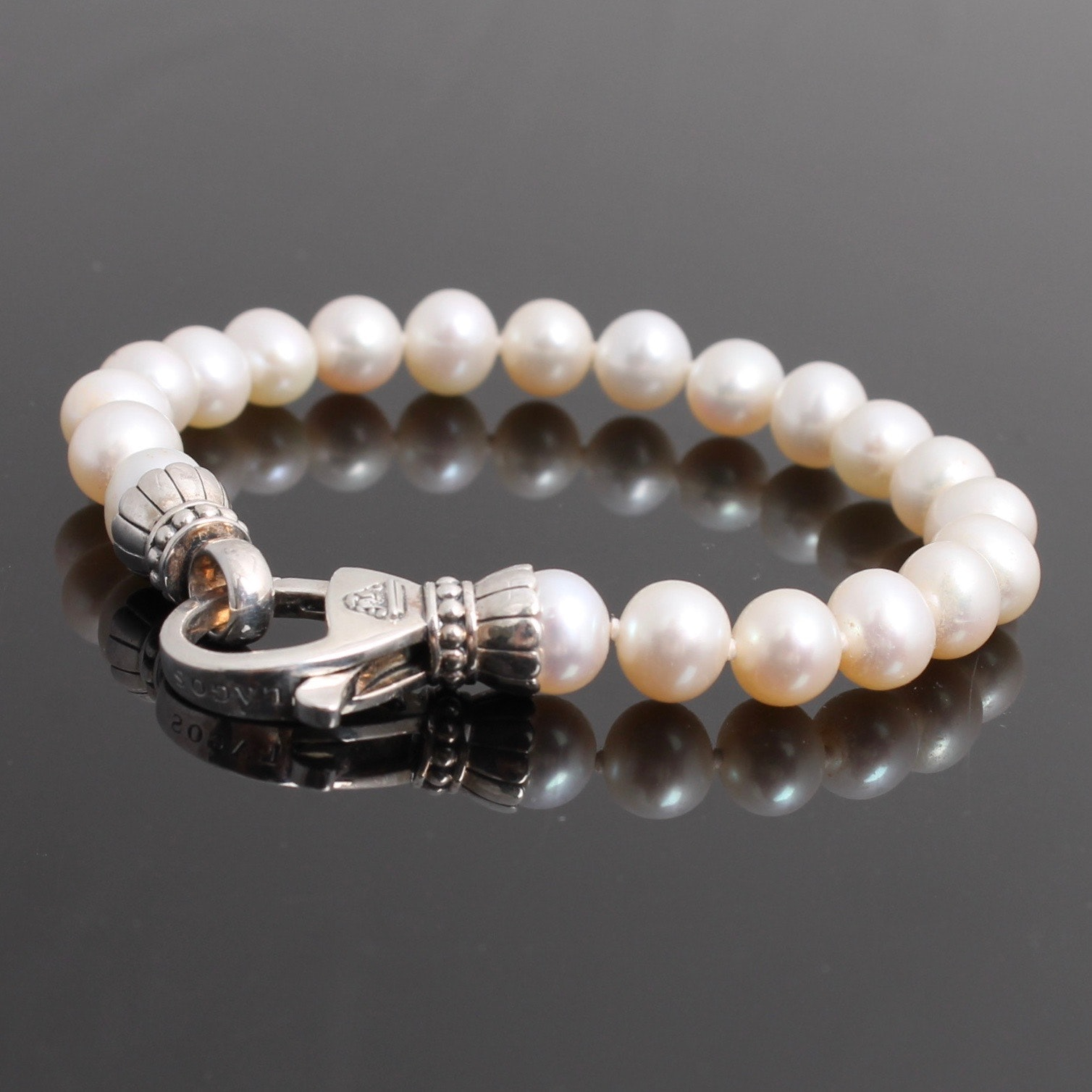 Lagos Sterling Silver Clasped Cultured Pearl Bracelet