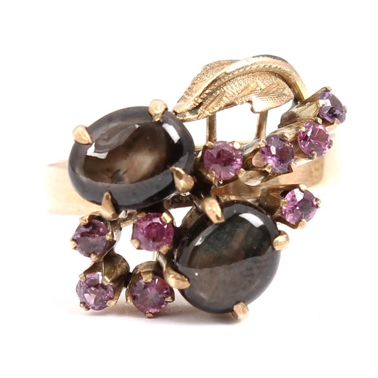 14K Yellow Gold Black Star Sapphire and Pink Sapphire Ring