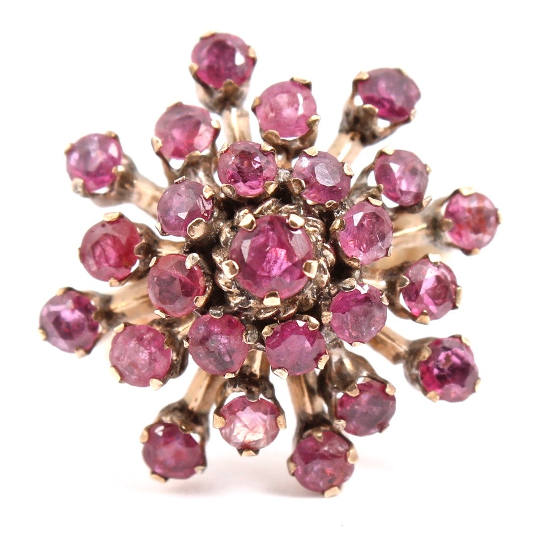 Vintage 14K Yellow Gold Ruby Cluster Ring