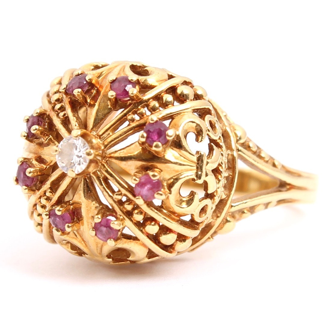 18K Yellow Gold Diamond and Ruby Crown Ring