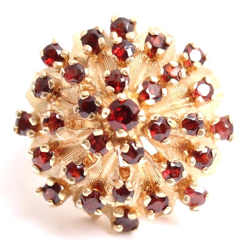 14K Yellow Gold Garnet Harem Cluster Ring