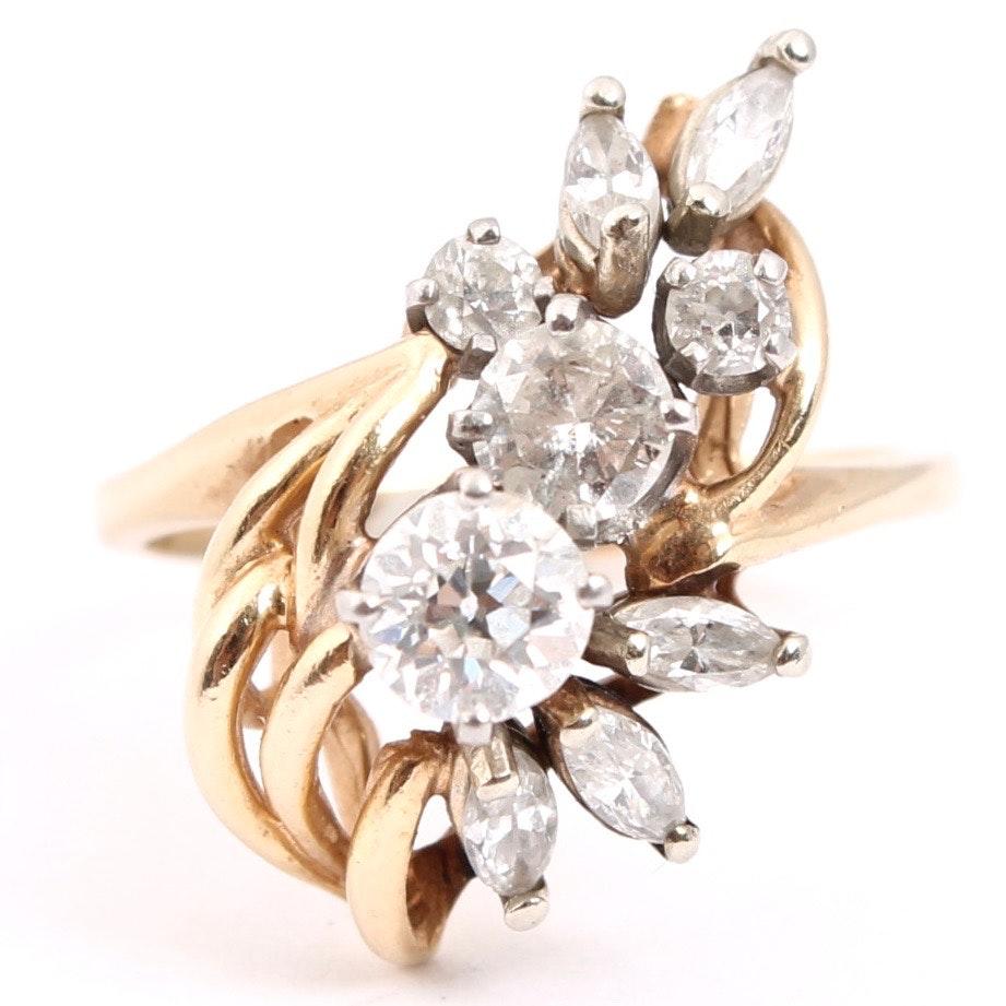 14K Yellow Gold 1.43 CTW Diamond Ring
