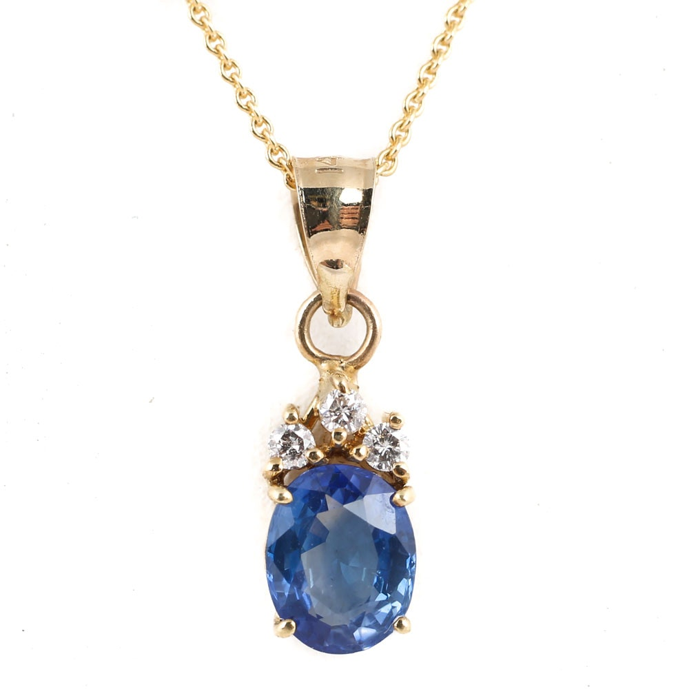 14K Yellow Gold 1.26 CT Sapphire and Diamond Pendant Necklace