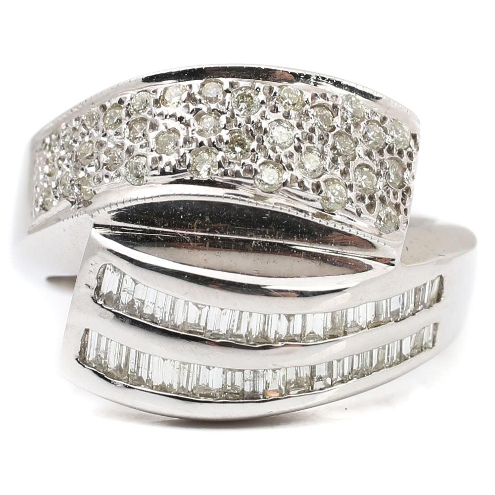 18K White Gold 1.00 CTW Diamond Bypass Ring