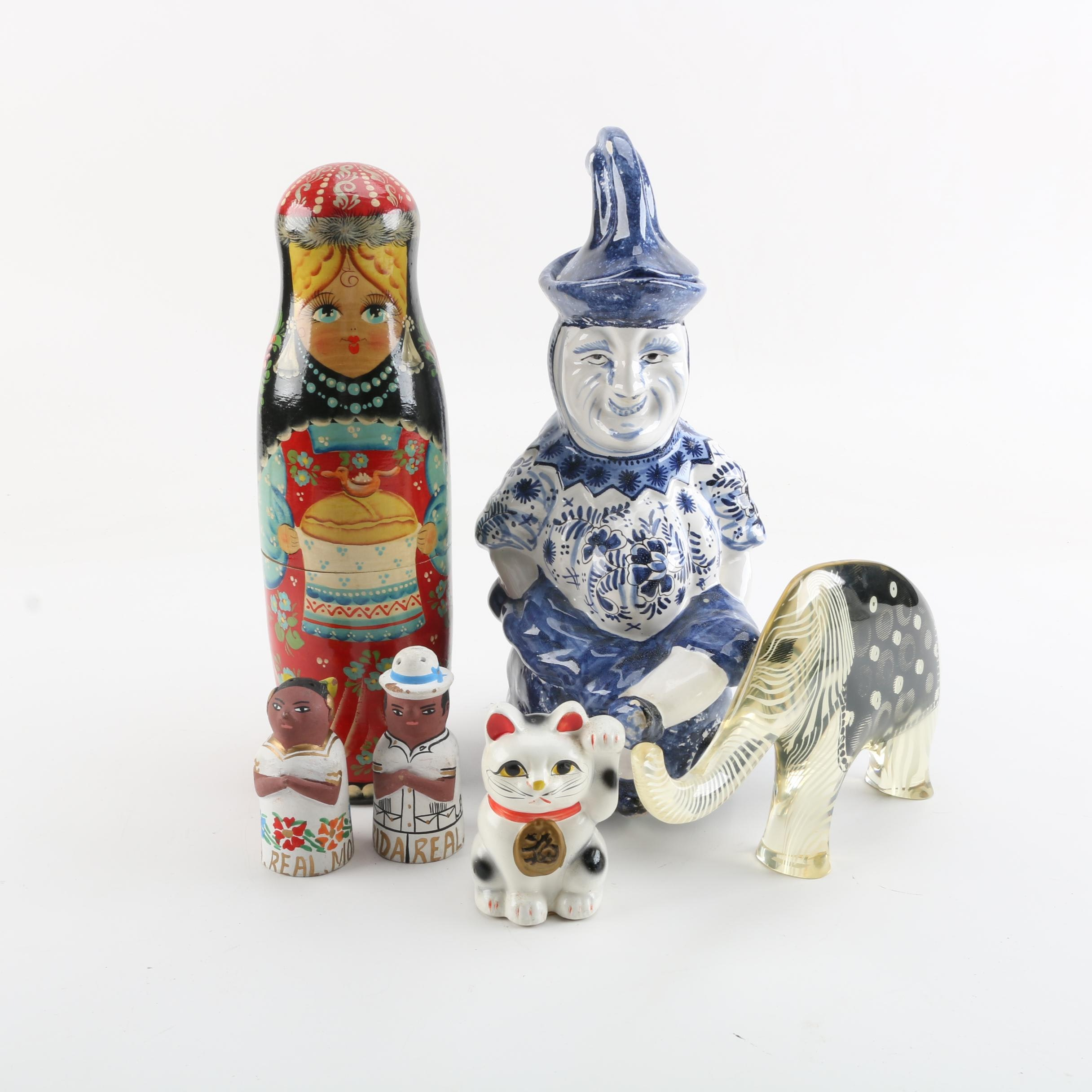"""International Figural Decor Including """"Hello Kitty"""" and Character Jar"""