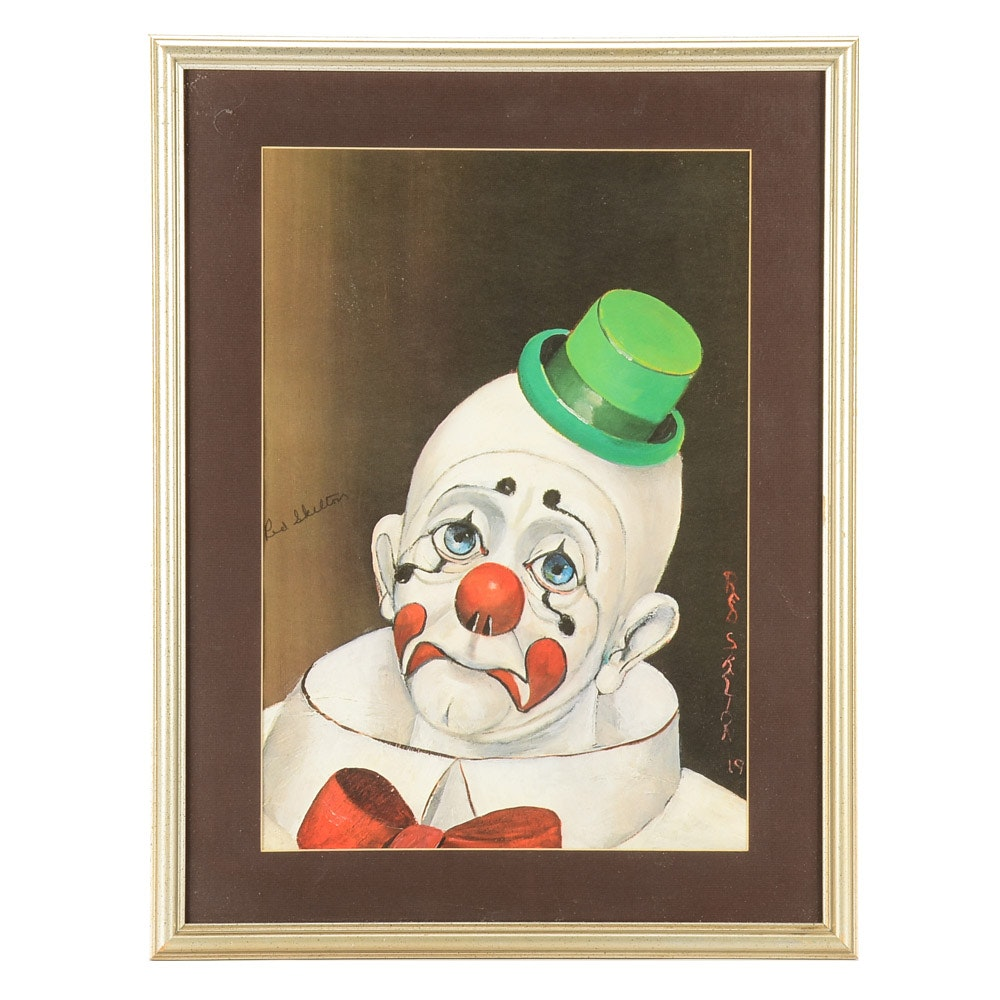 """Red Skelton Signed Offset Lithograph """"Sad Face Clown"""""""