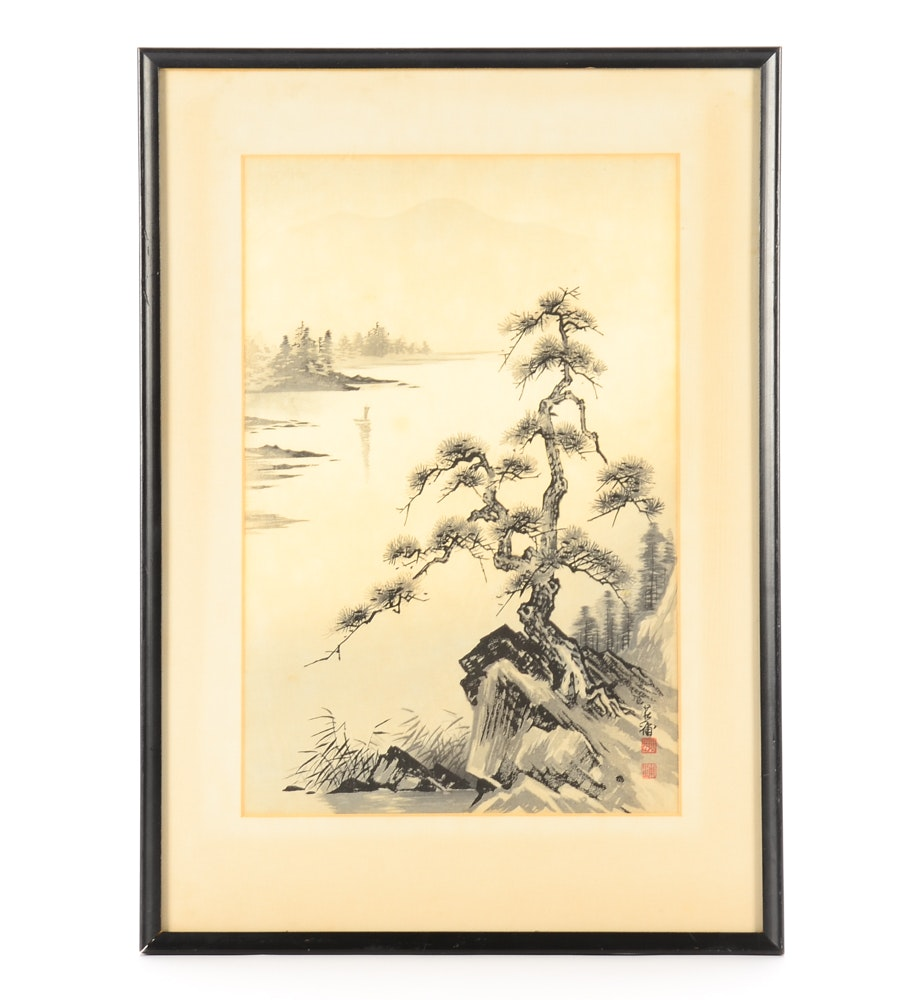 "Tekiho Imoto Woodblock Print ""Lake and Pine Tree"""