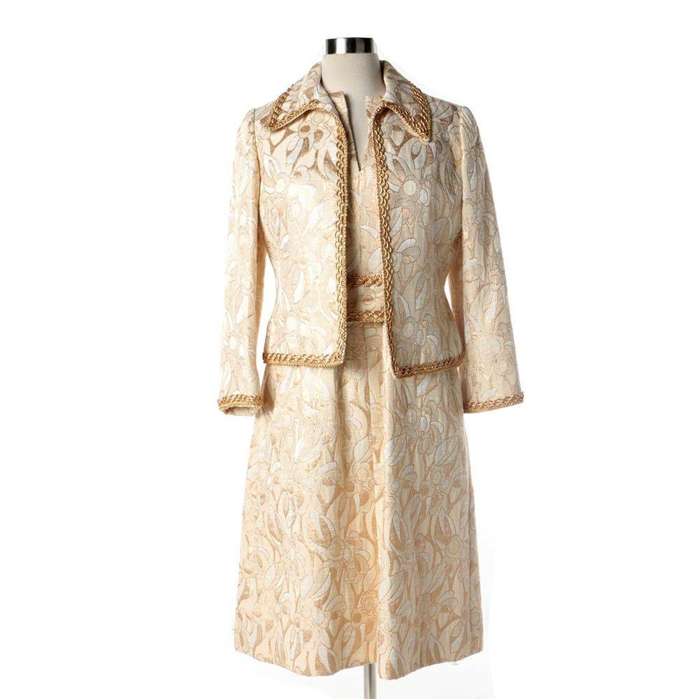 1960s Vintage Mollie Parnis Gold and Cream Dress Suit