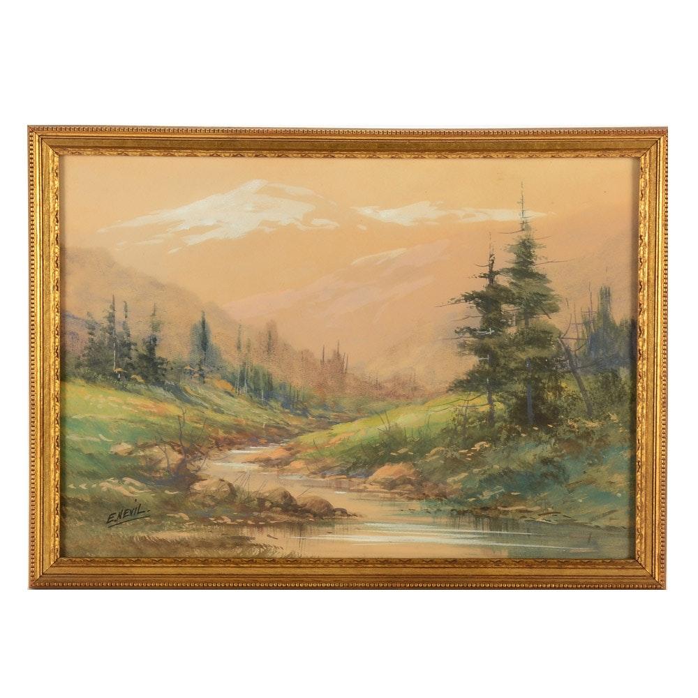 E. Nevil Original Gouache and Watercolor Landscape Painting